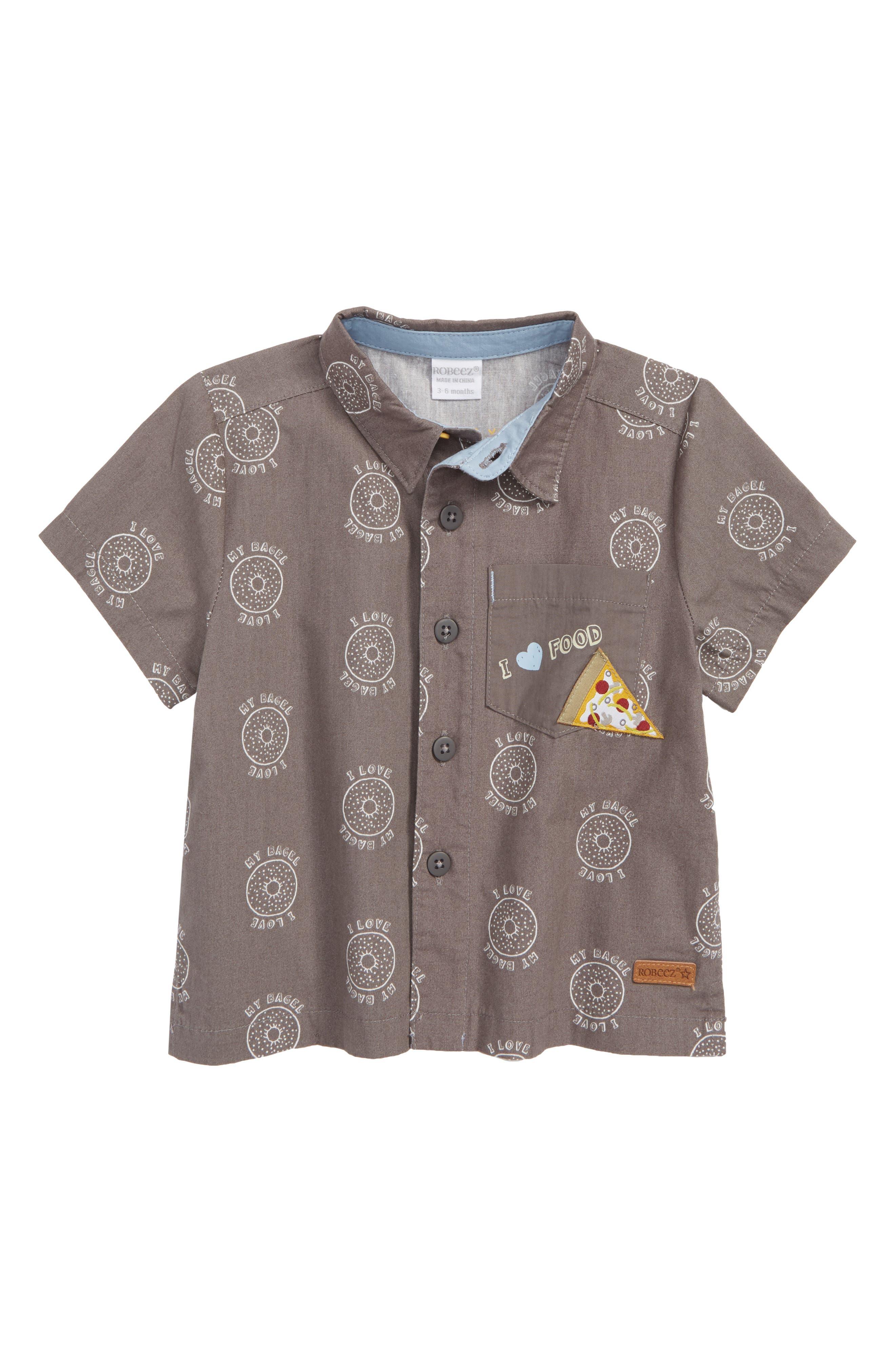 I Love My Bagel Woven Shirt,                             Main thumbnail 1, color,                             Charcoal