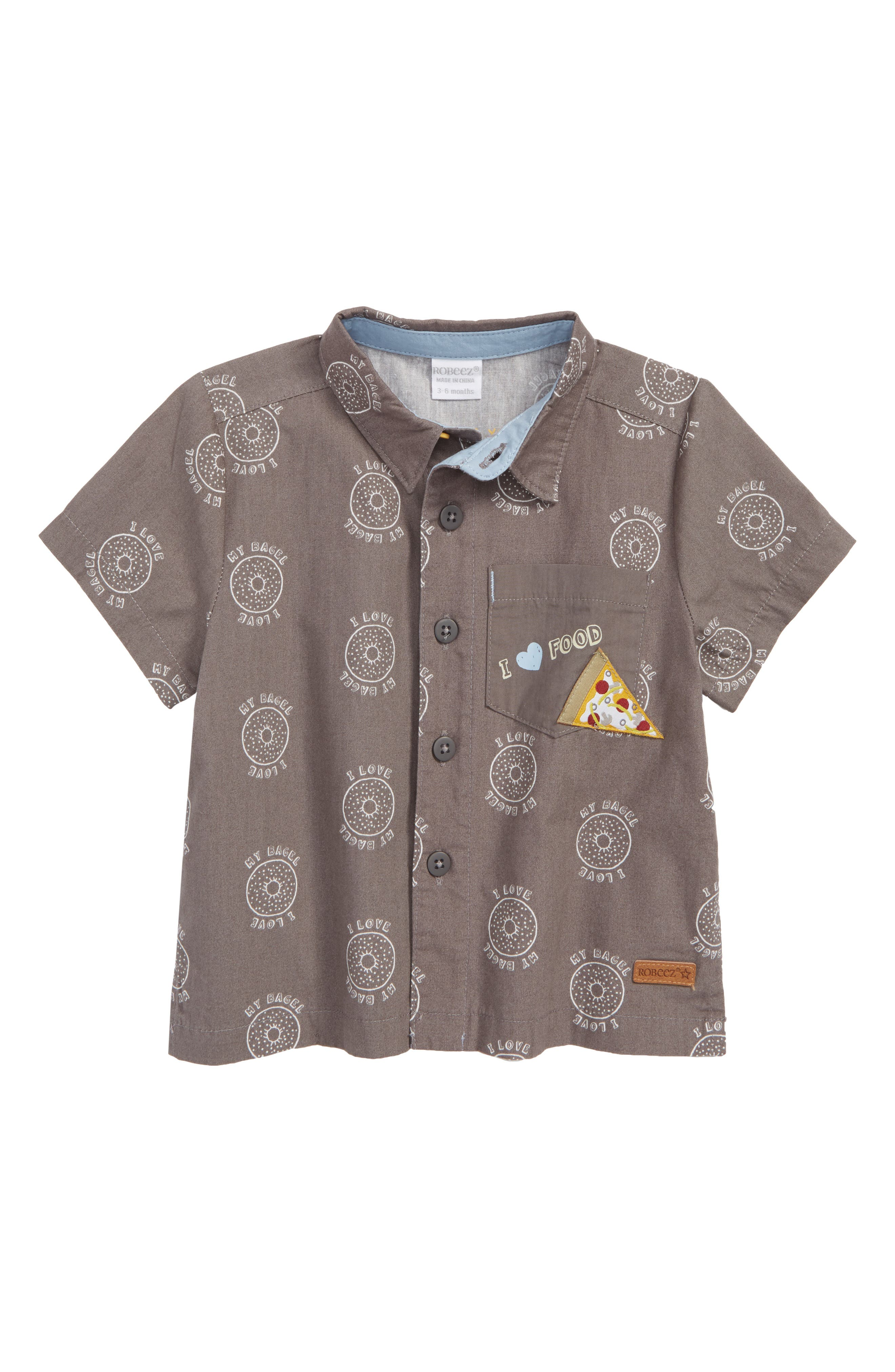 I Love My Bagel Woven Shirt,                         Main,                         color, Charcoal
