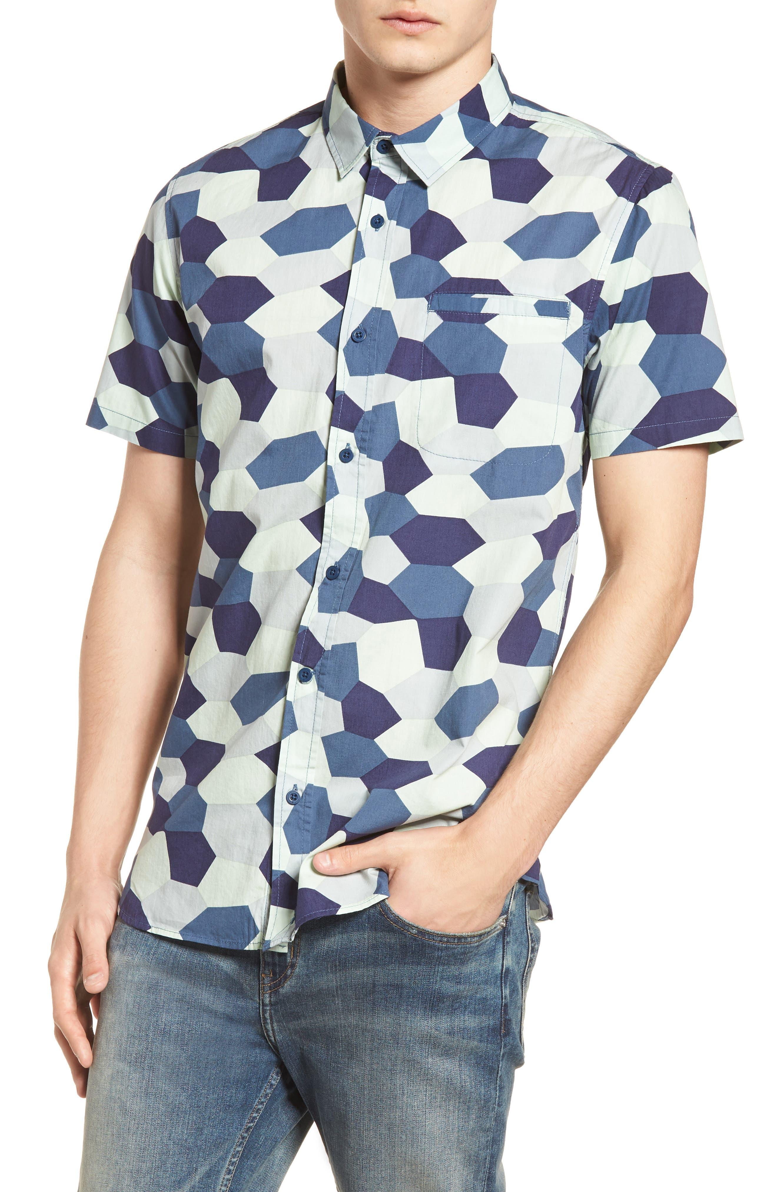 Porter Woven Shirt,                             Main thumbnail 1, color,                             Sea Green Camo