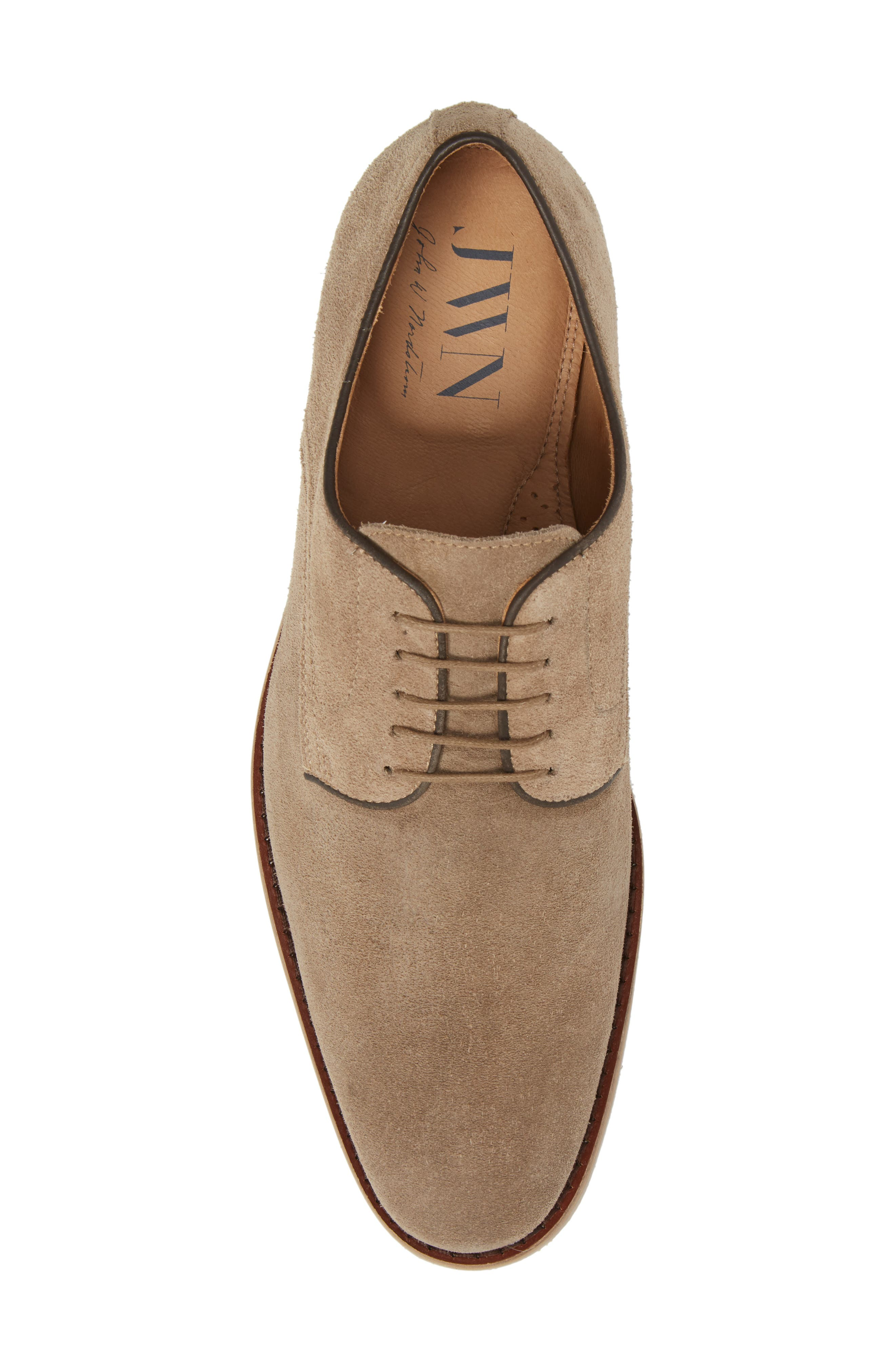 Santino Plain Toe Derby,                             Alternate thumbnail 5, color,                             Taupe Suede