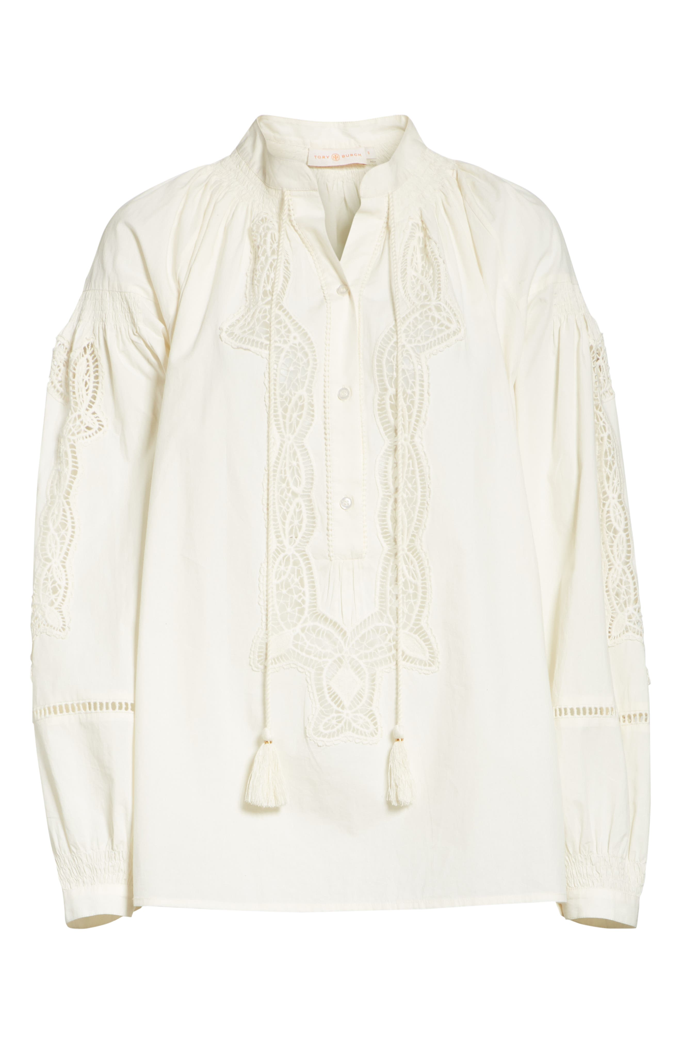 Kimberly Lace Trim Blouse,                             Alternate thumbnail 6, color,                             New Ivory