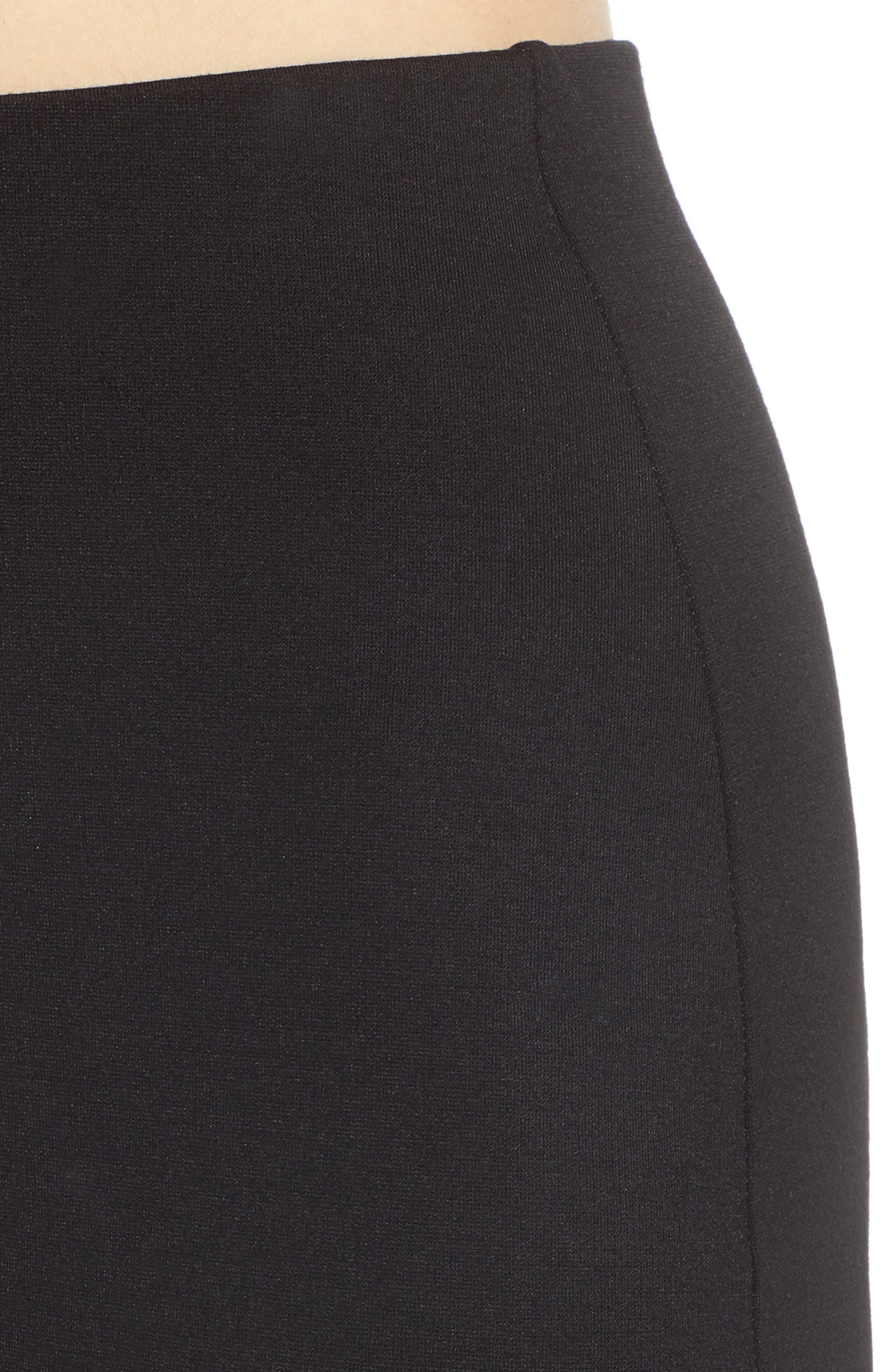 Stretch Ponte Mini Skirt,                             Alternate thumbnail 5, color,                             Black