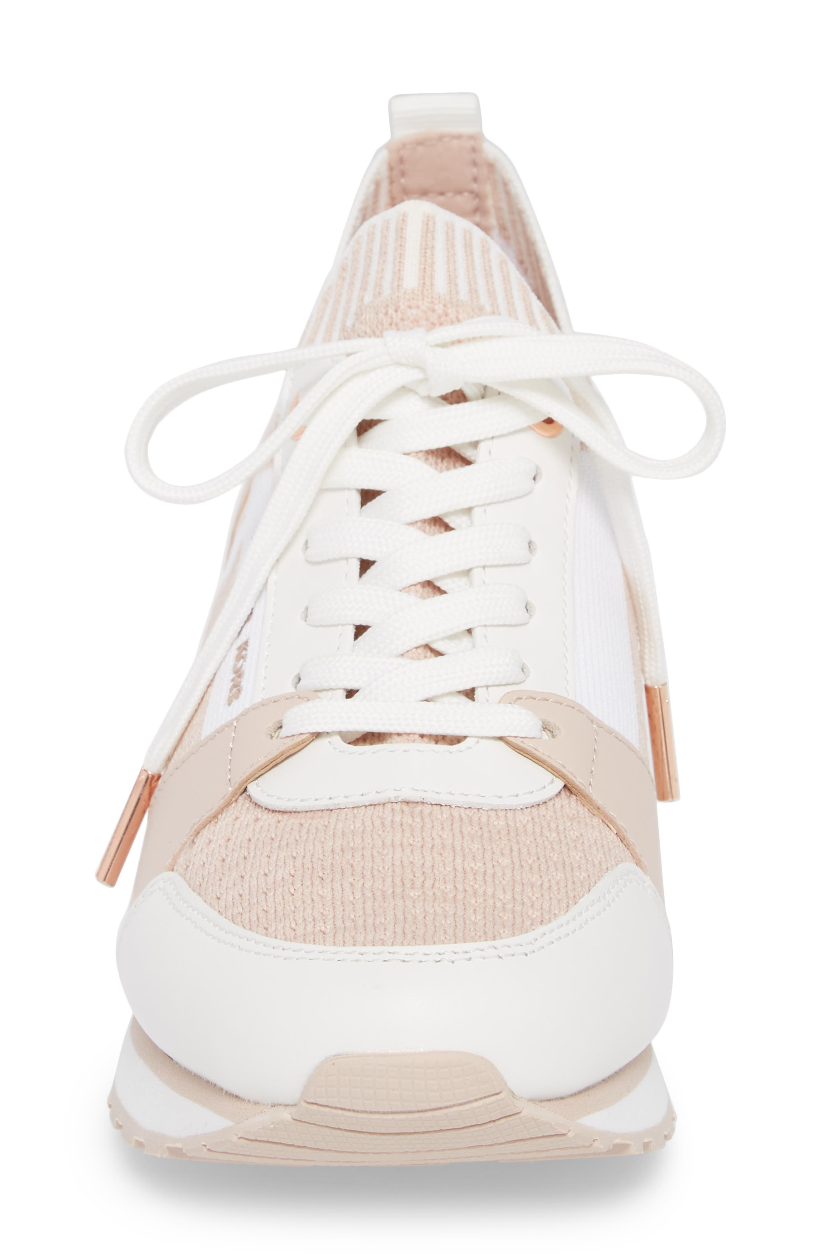 Billie Perforated Sneaker,                             Alternate thumbnail 4, color,                             Soft Pink Fabric