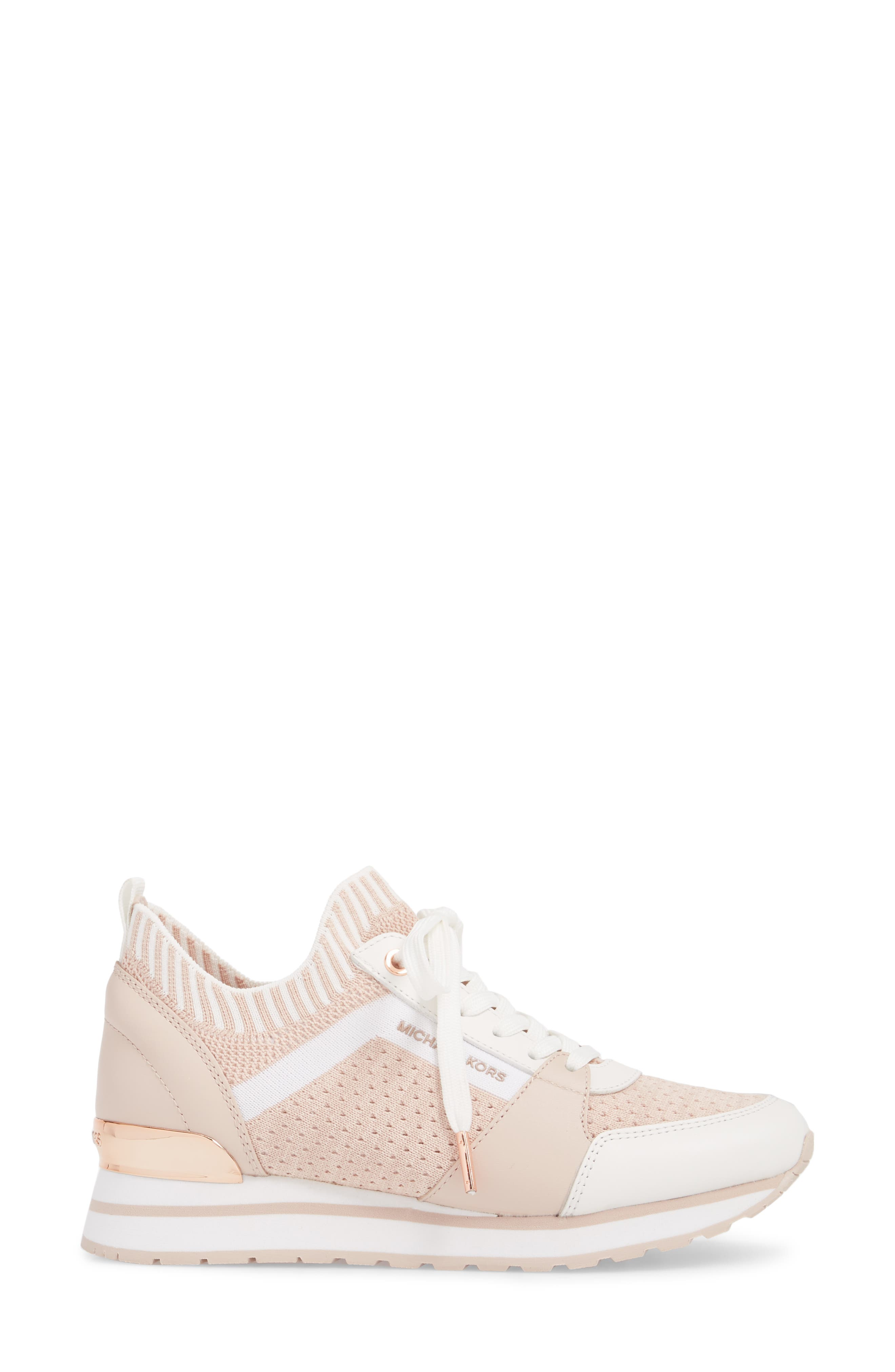 Billie Perforated Sneaker,                             Alternate thumbnail 3, color,                             Soft Pink Fabric