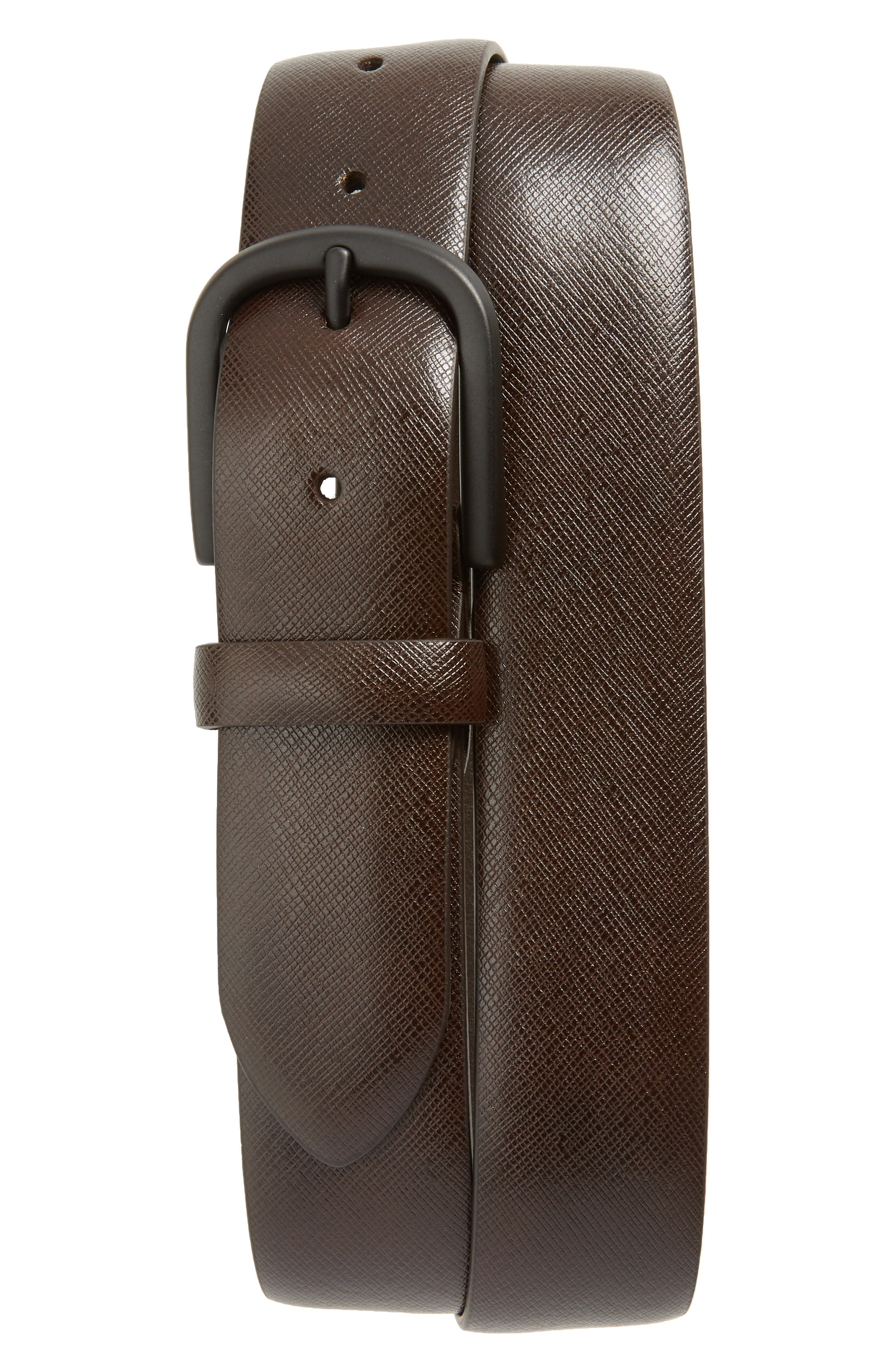 Saffiano Leather Belt,                             Main thumbnail 1, color,                             Dark Brown