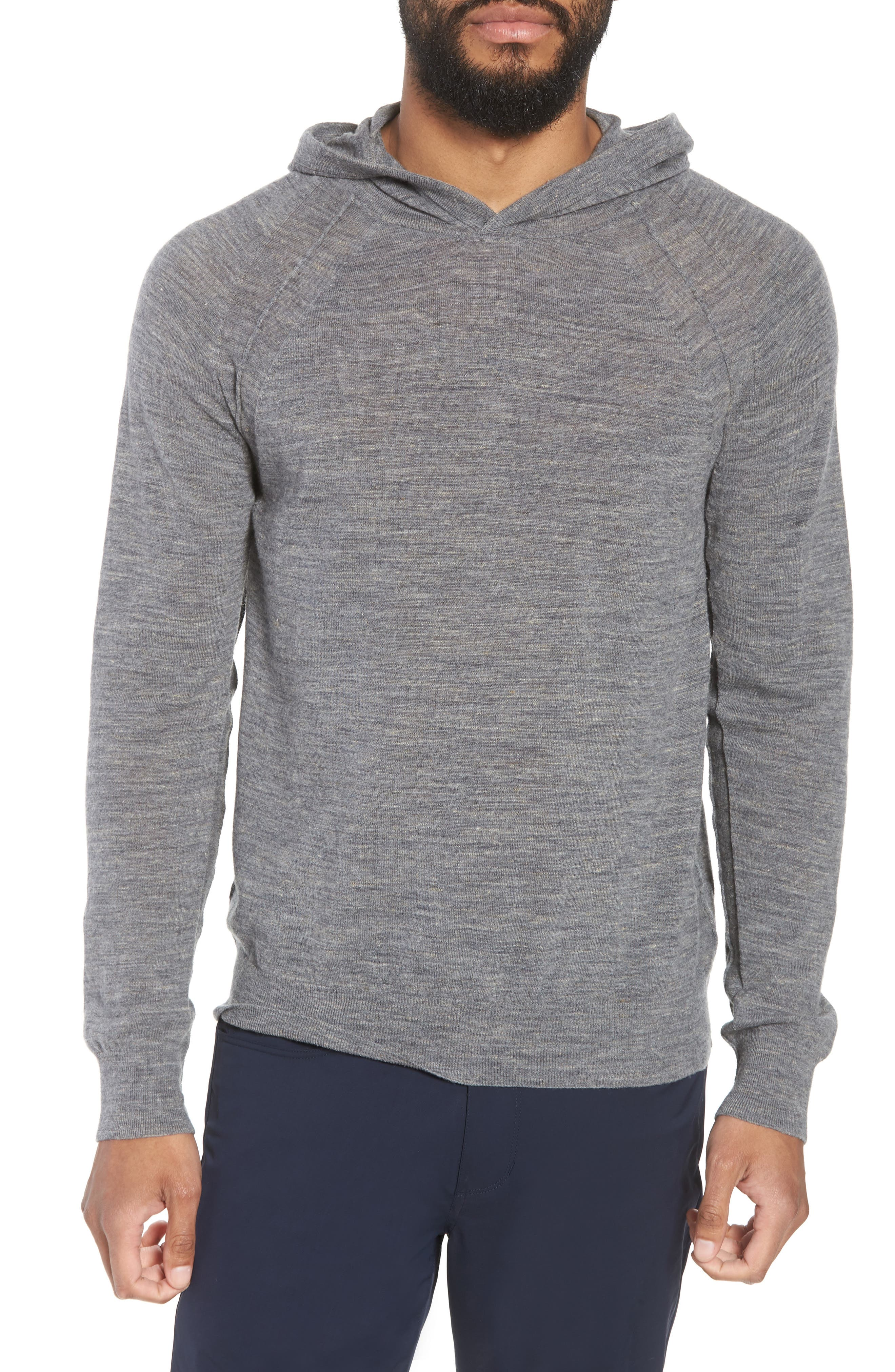 Long Sleeve Pullover Hoodie,                         Main,                         color, Smoke