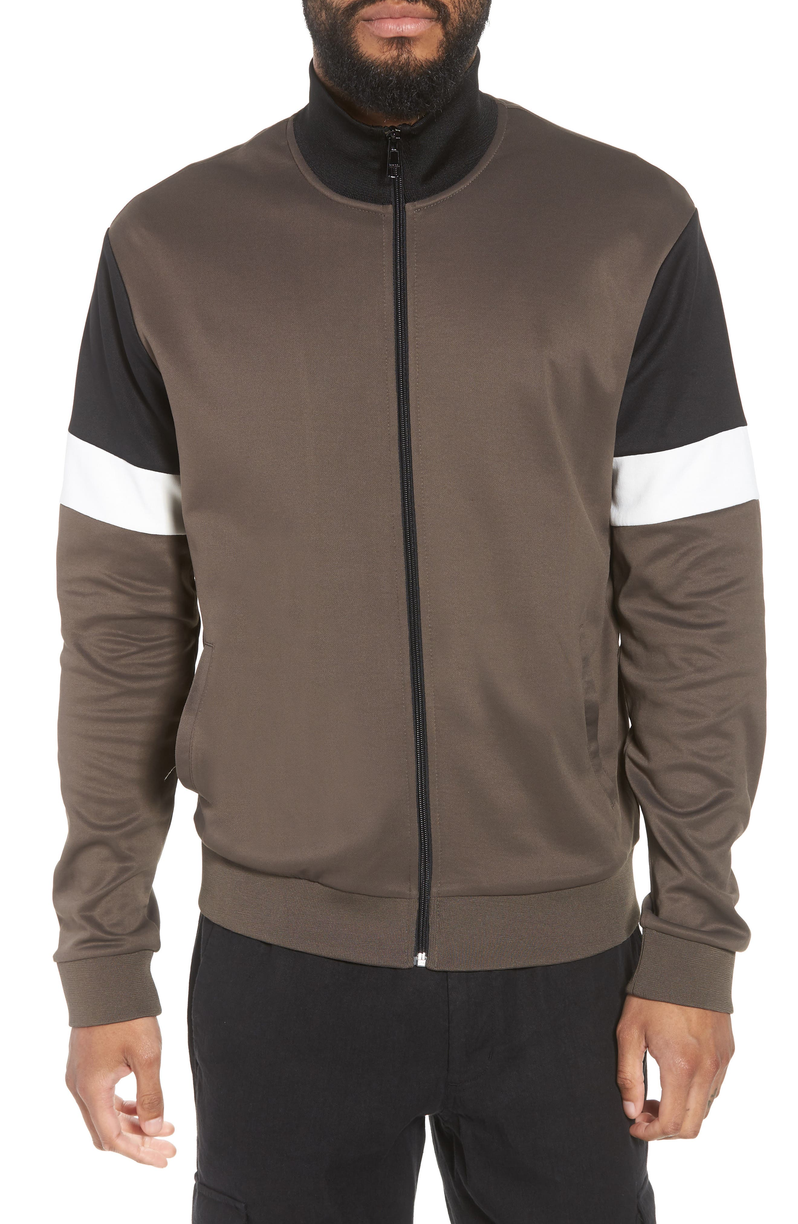 Colorblock Track Jacket,                         Main,                         color, Dried Herb