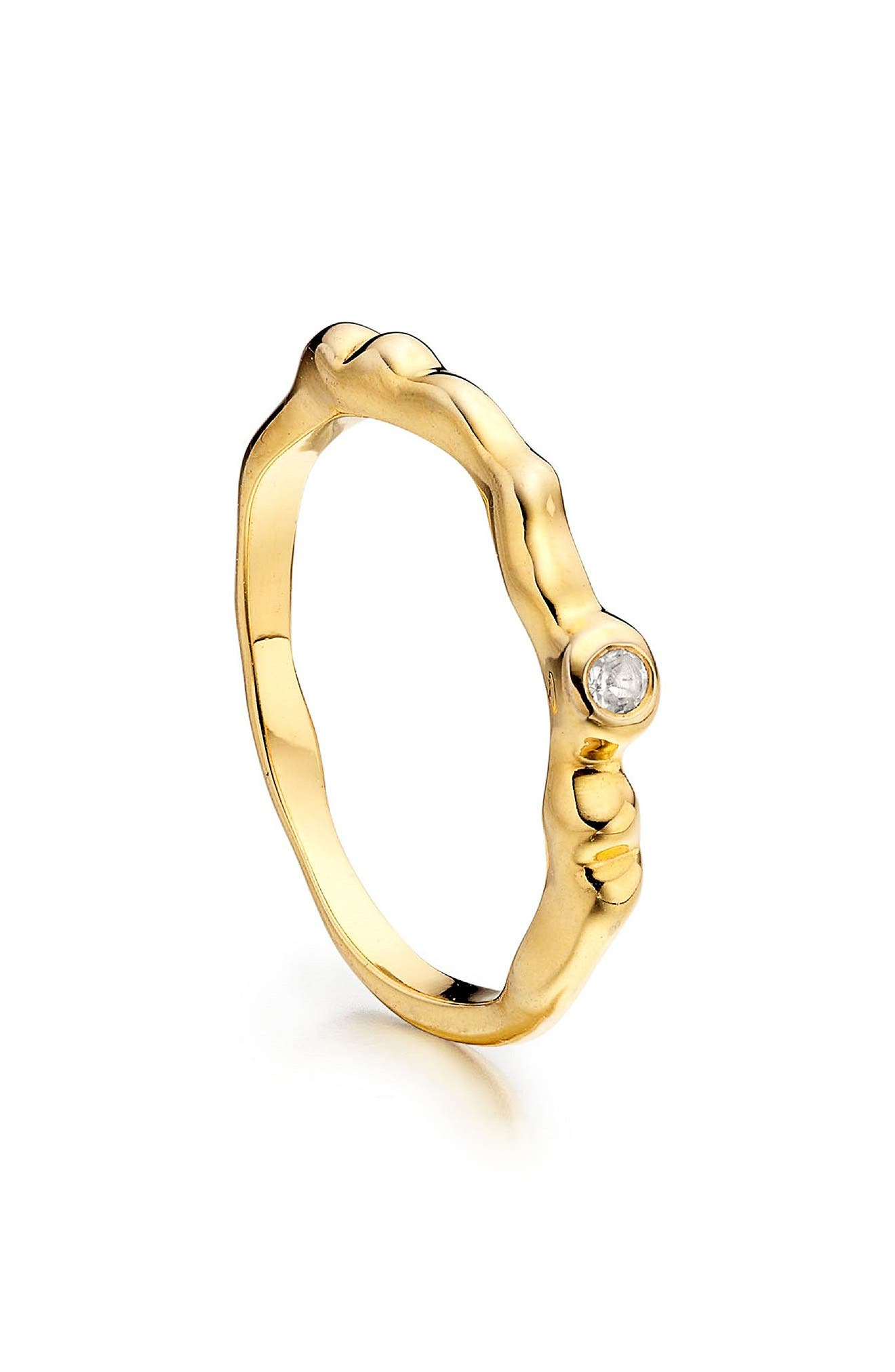 Siren Band Ring,                             Alternate thumbnail 2, color,                             Gold/ White Topaz