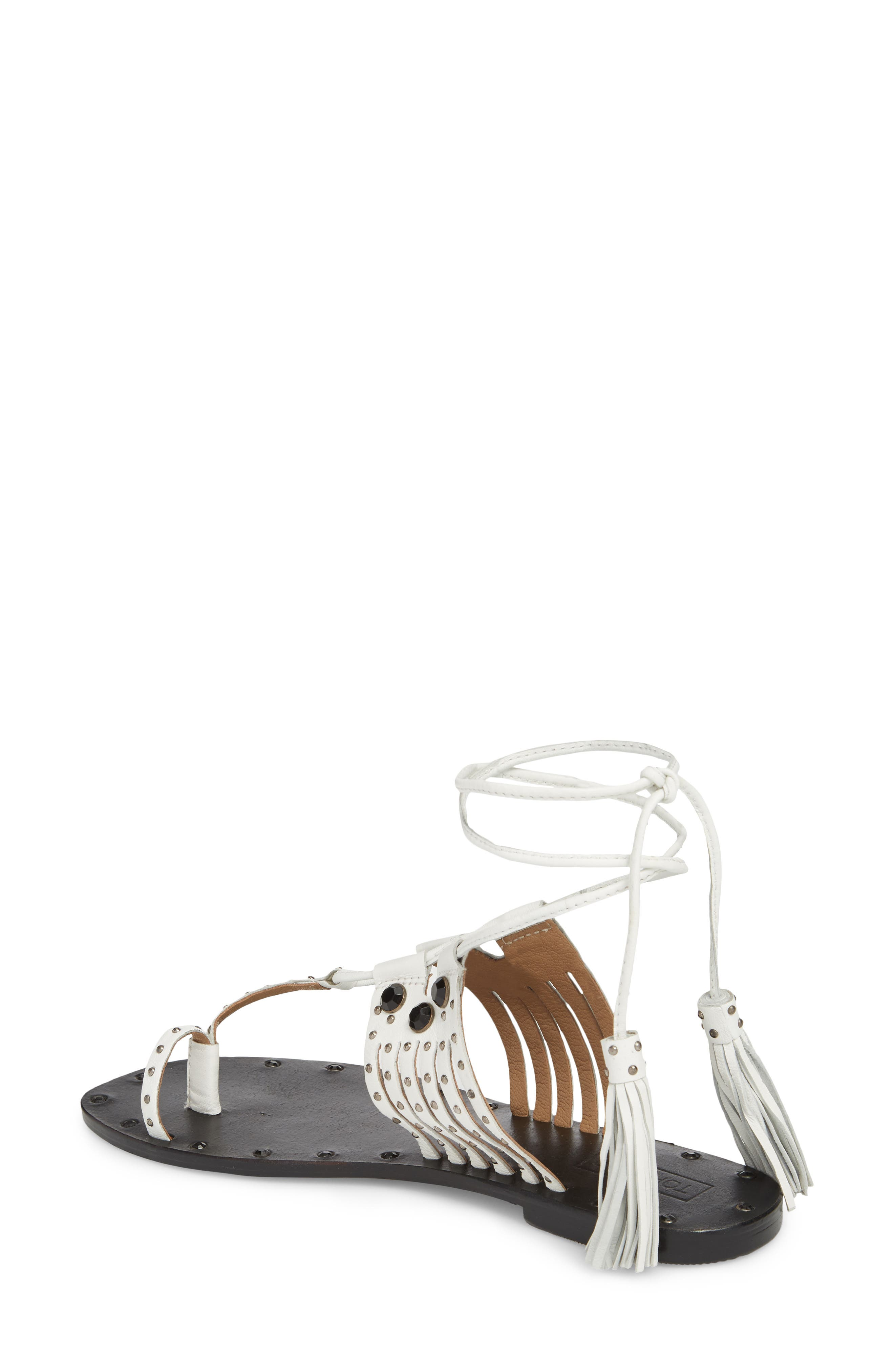 Fay Embellished Wraparound Sandal,                             Alternate thumbnail 2, color,                             White Multi