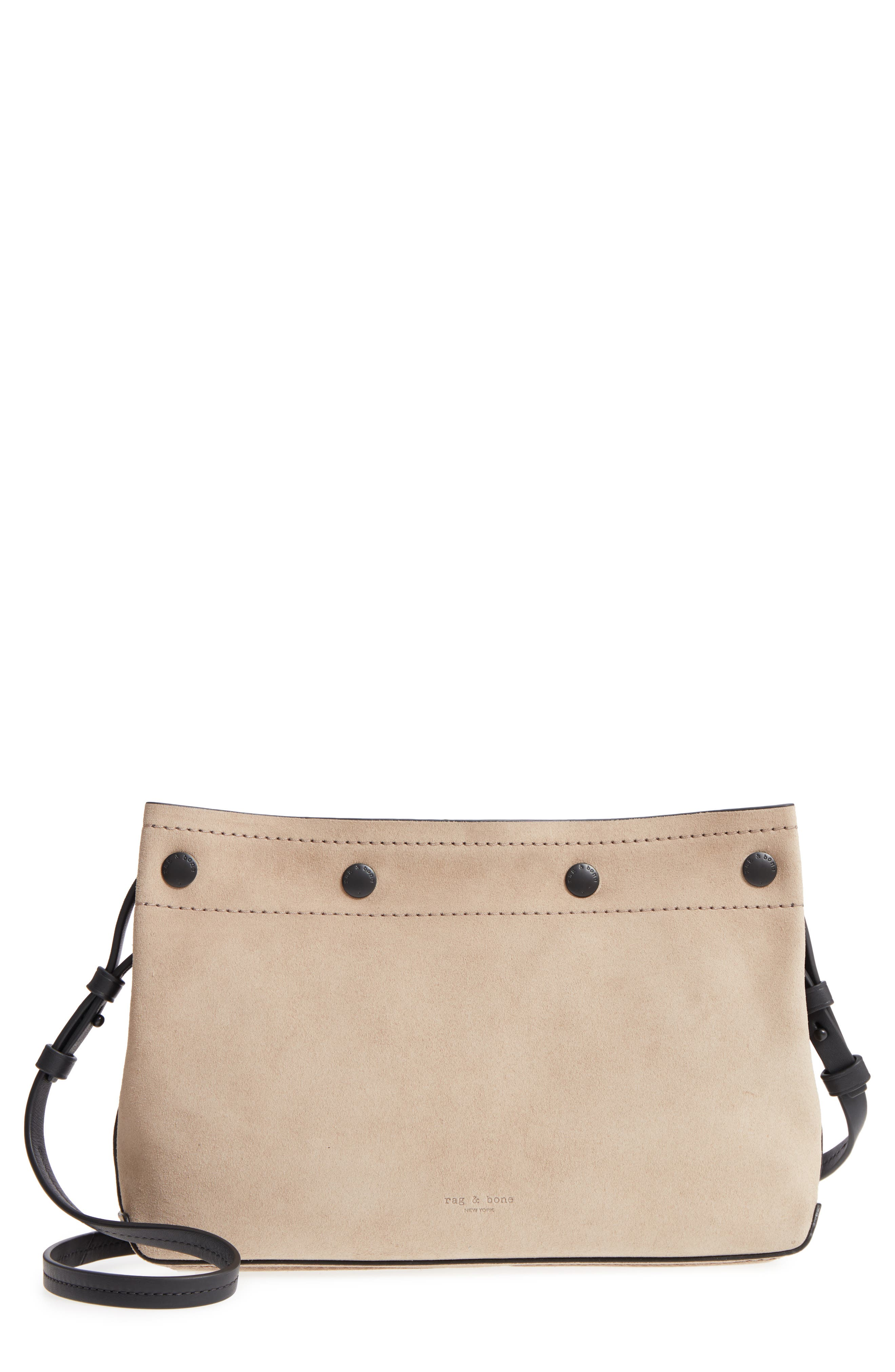 Compass Leather Crossbody Bag,                         Main,                         color, Warm Grey Suede