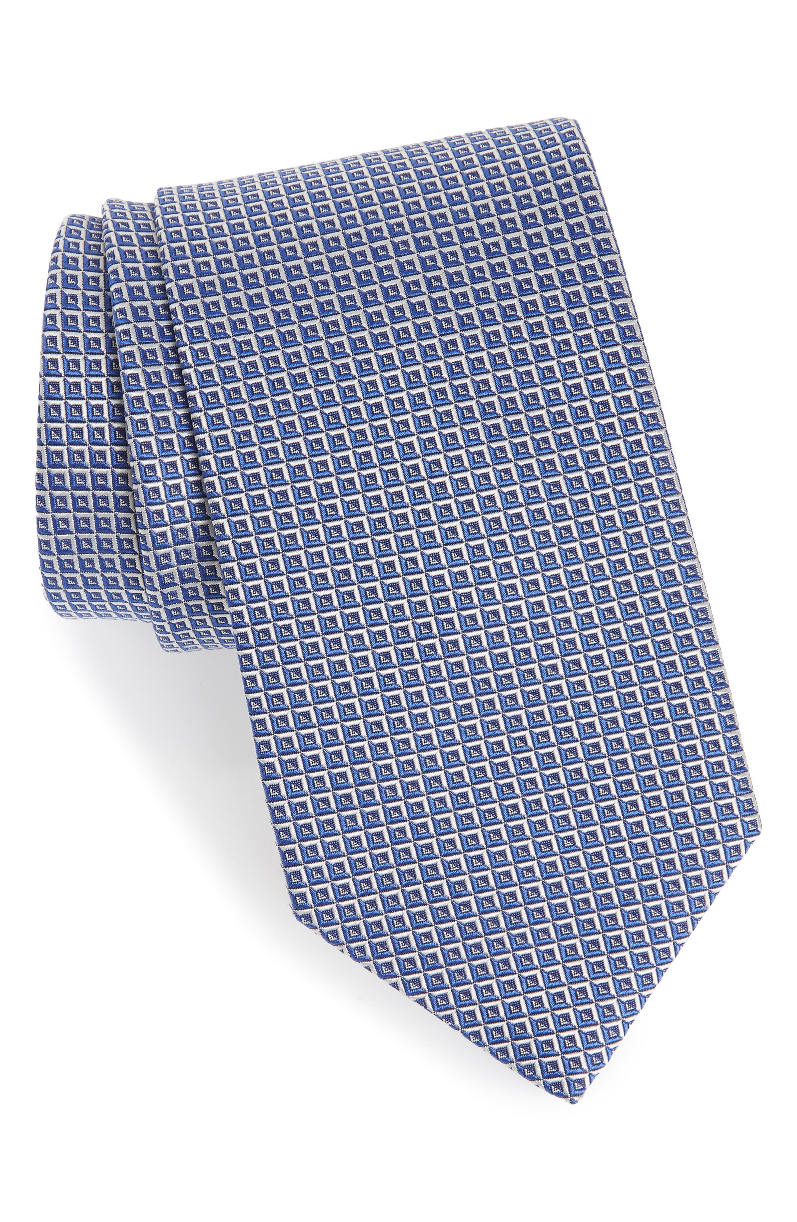 Geometric Grid Silk Tie,                         Main,                         color, Blue