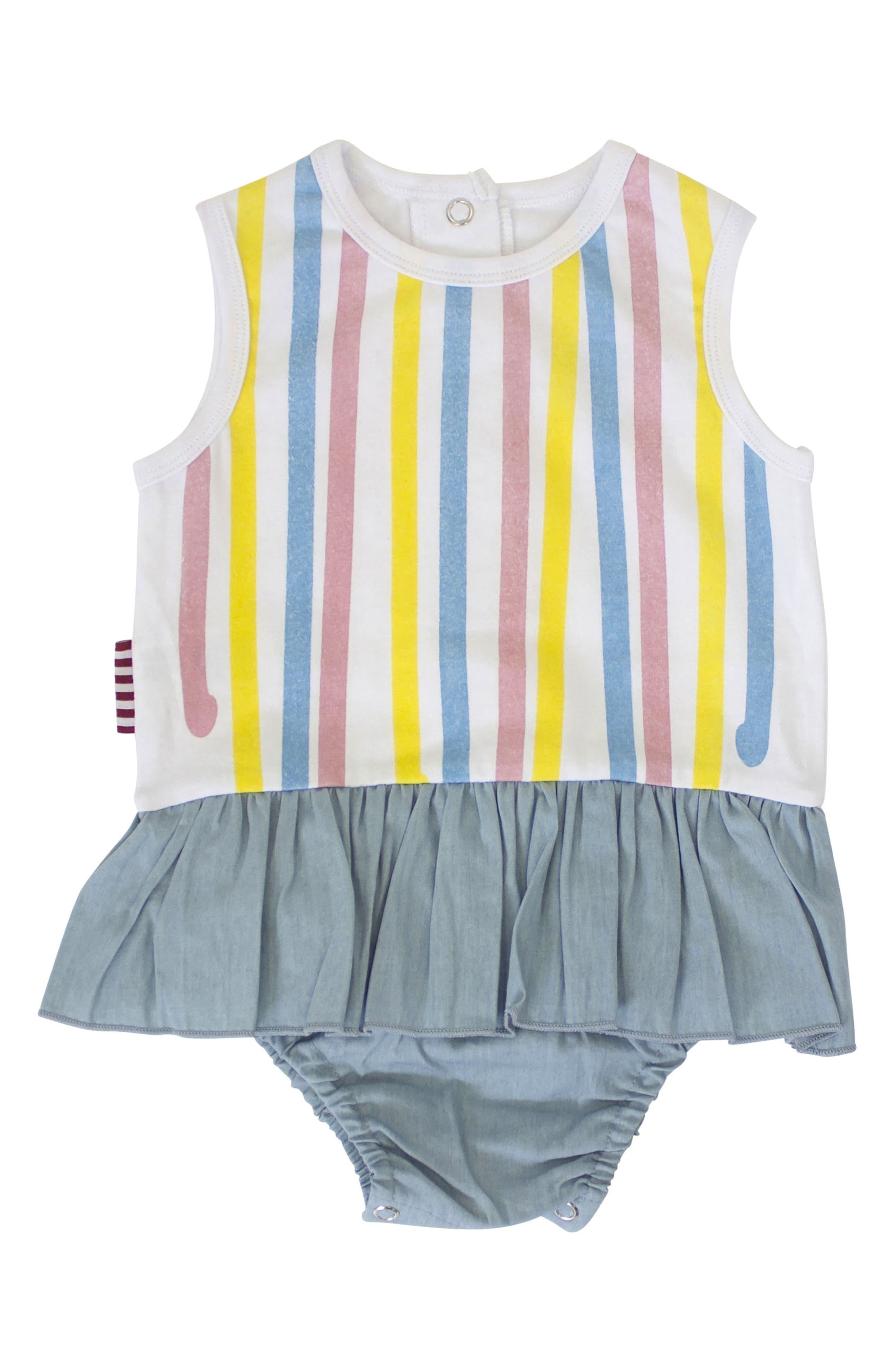 Skirted Bodysuit,                             Main thumbnail 1, color,                             White/ Chambray