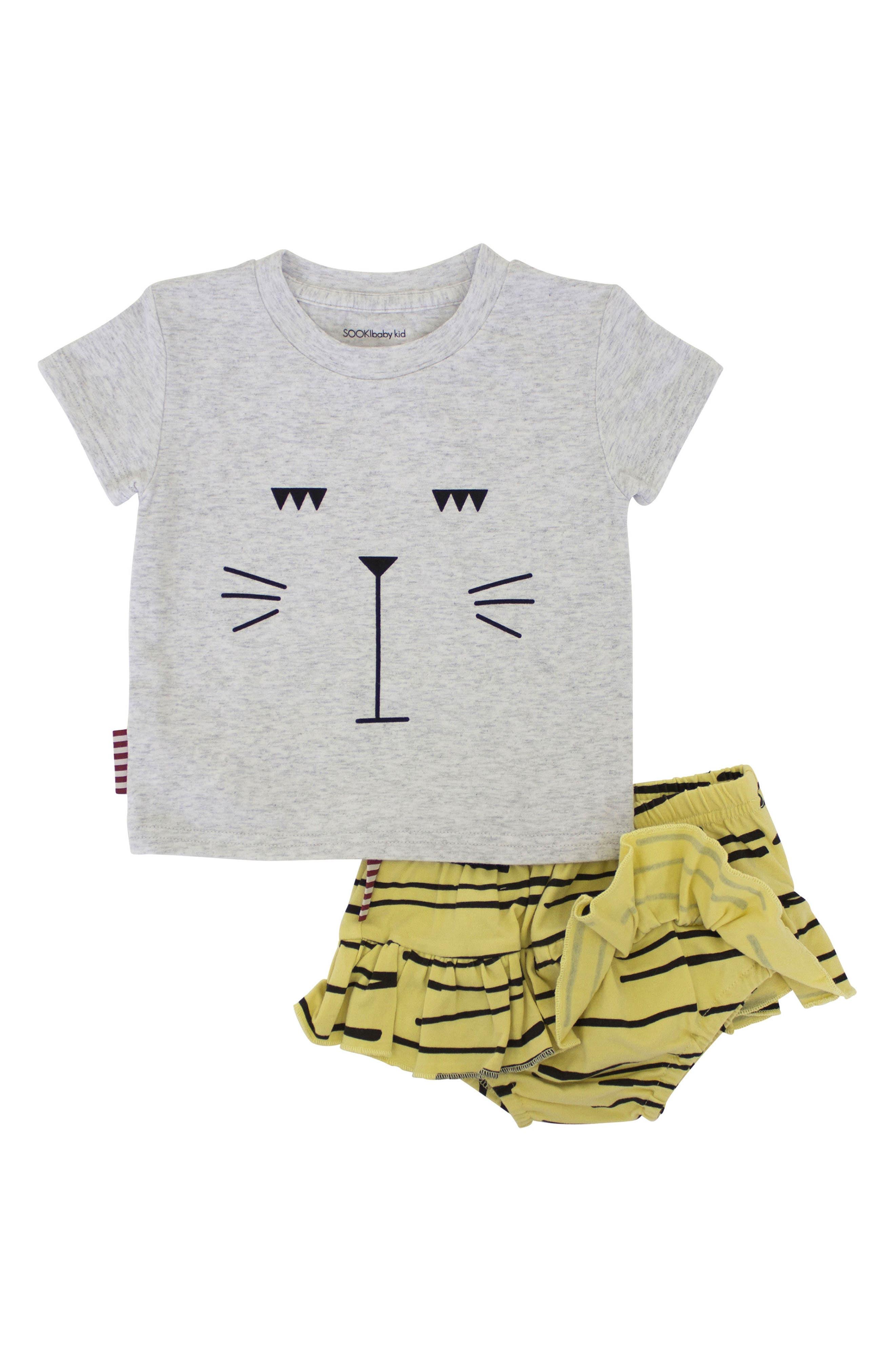 Tiger Stripe Tee & Skirted Bloomers Set,                             Main thumbnail 1, color,                             Grey/ Yellow