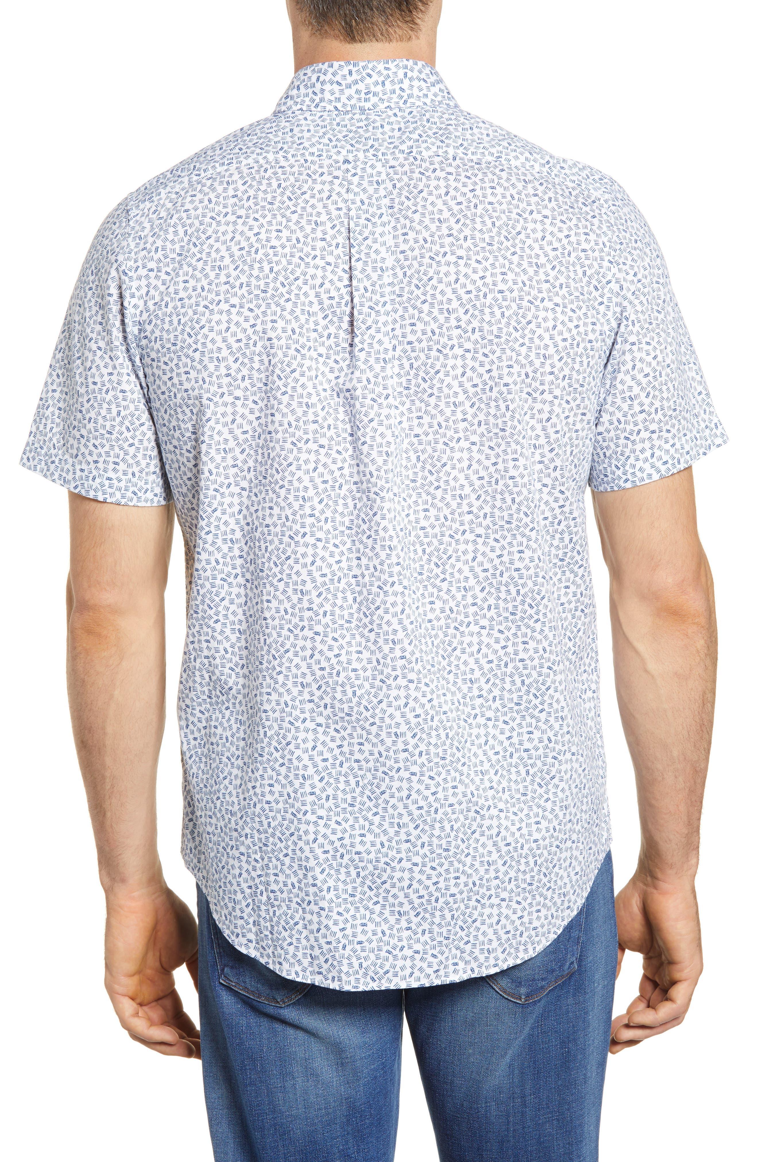 Fish Dash Tucker Slim Fit Sport Shirt,                             Alternate thumbnail 3, color,                             White Cap
