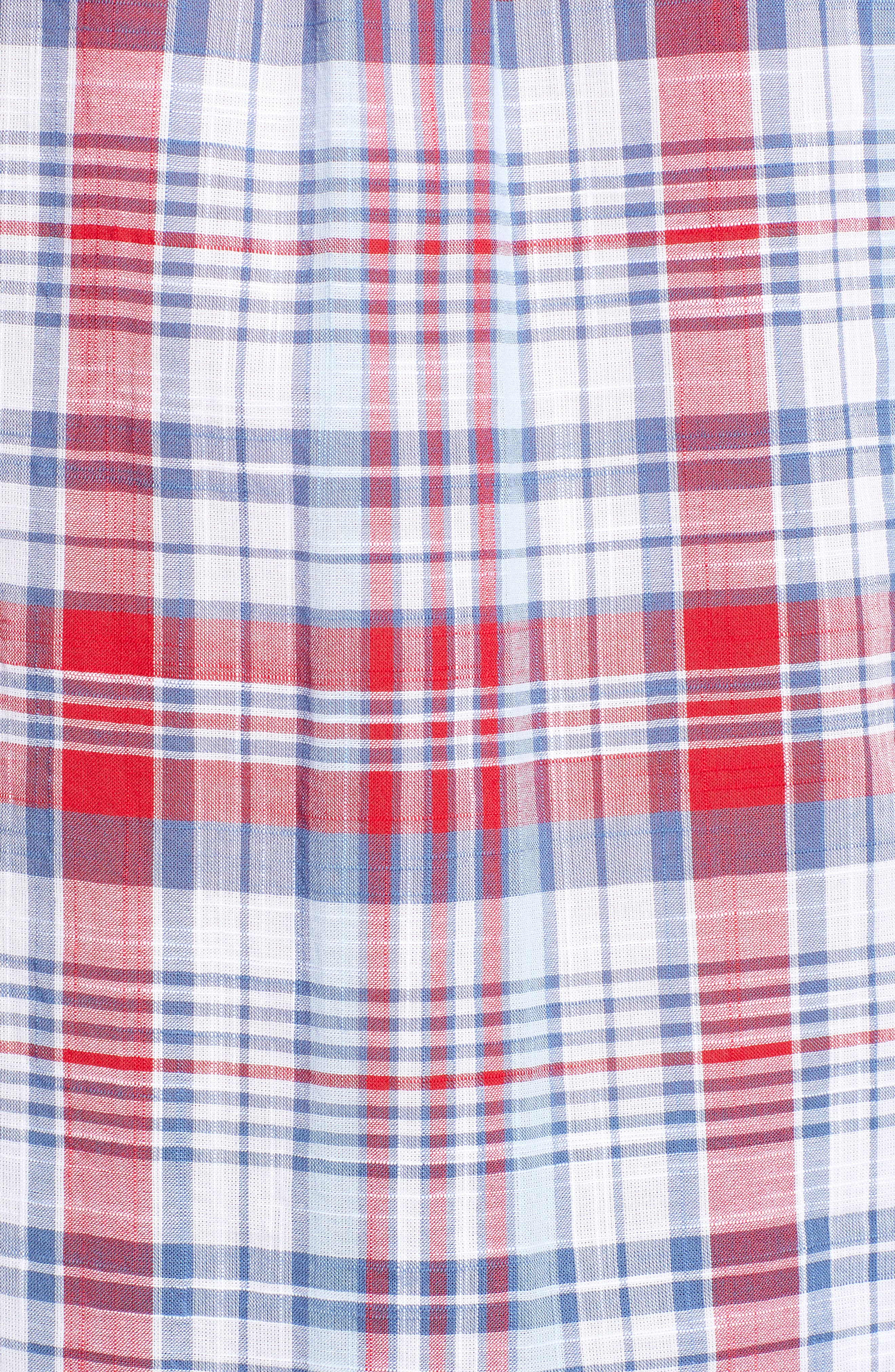 Firework Plaid Tucker Classic Fit Sport Shirt,                             Alternate thumbnail 5, color,                             Lighthouse Red