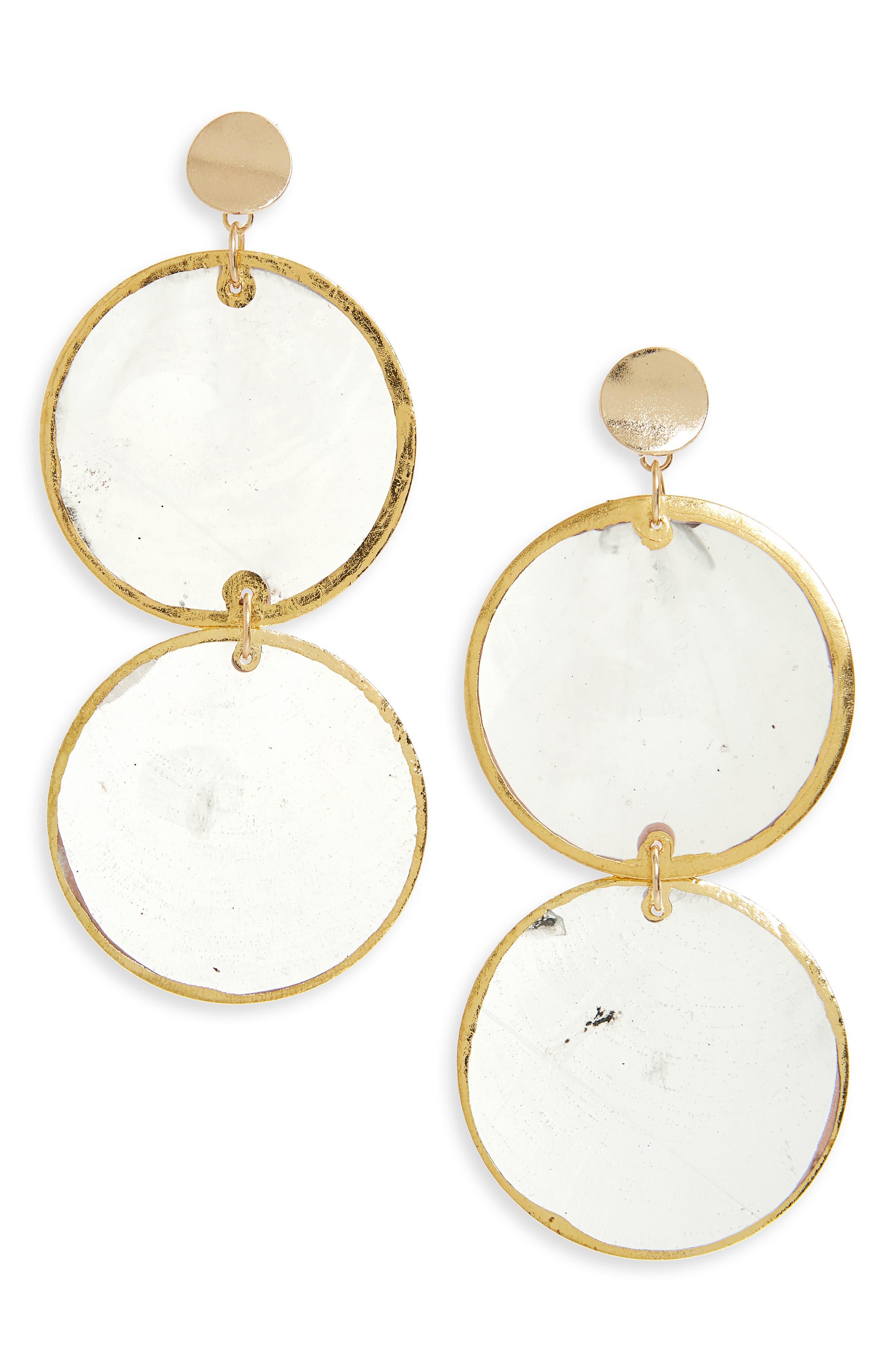 Shell Drop Earrings,                             Main thumbnail 1, color,                             Gold/ Shell