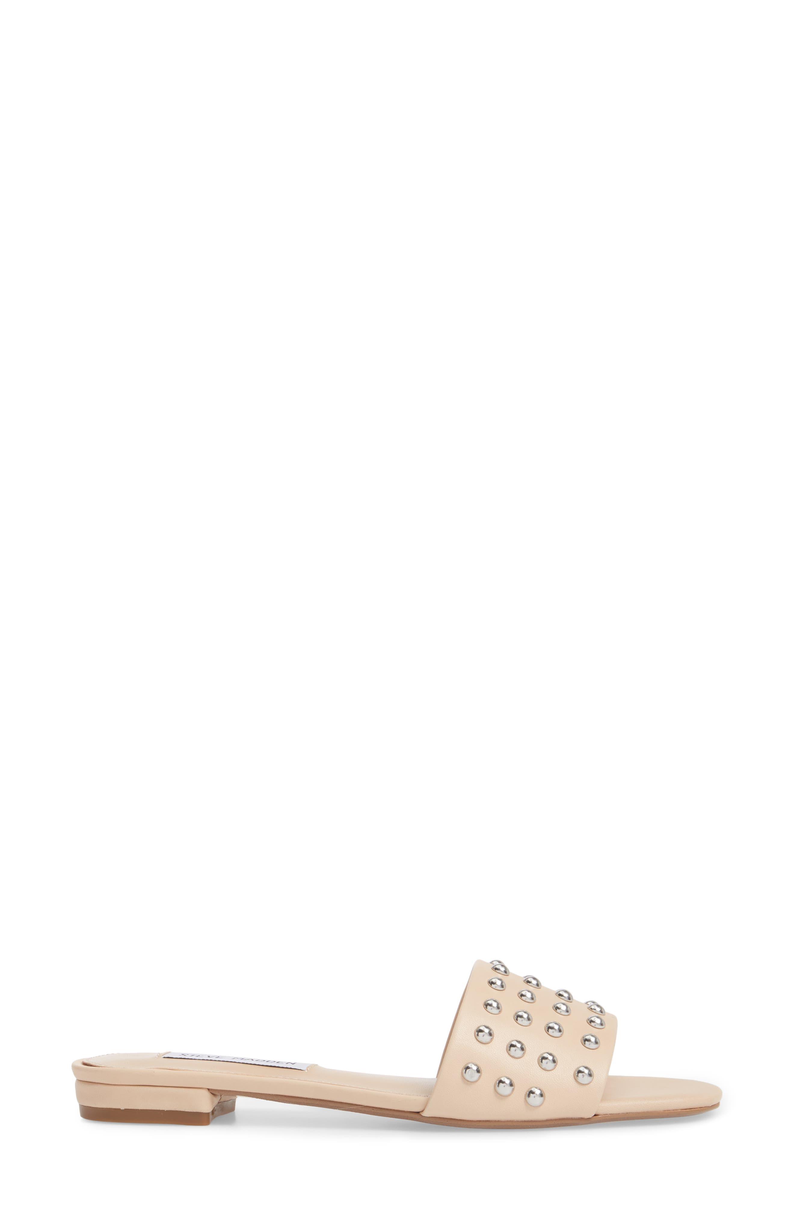Viv Studded Slide Sandal,                             Alternate thumbnail 3, color,                             Blush Leather