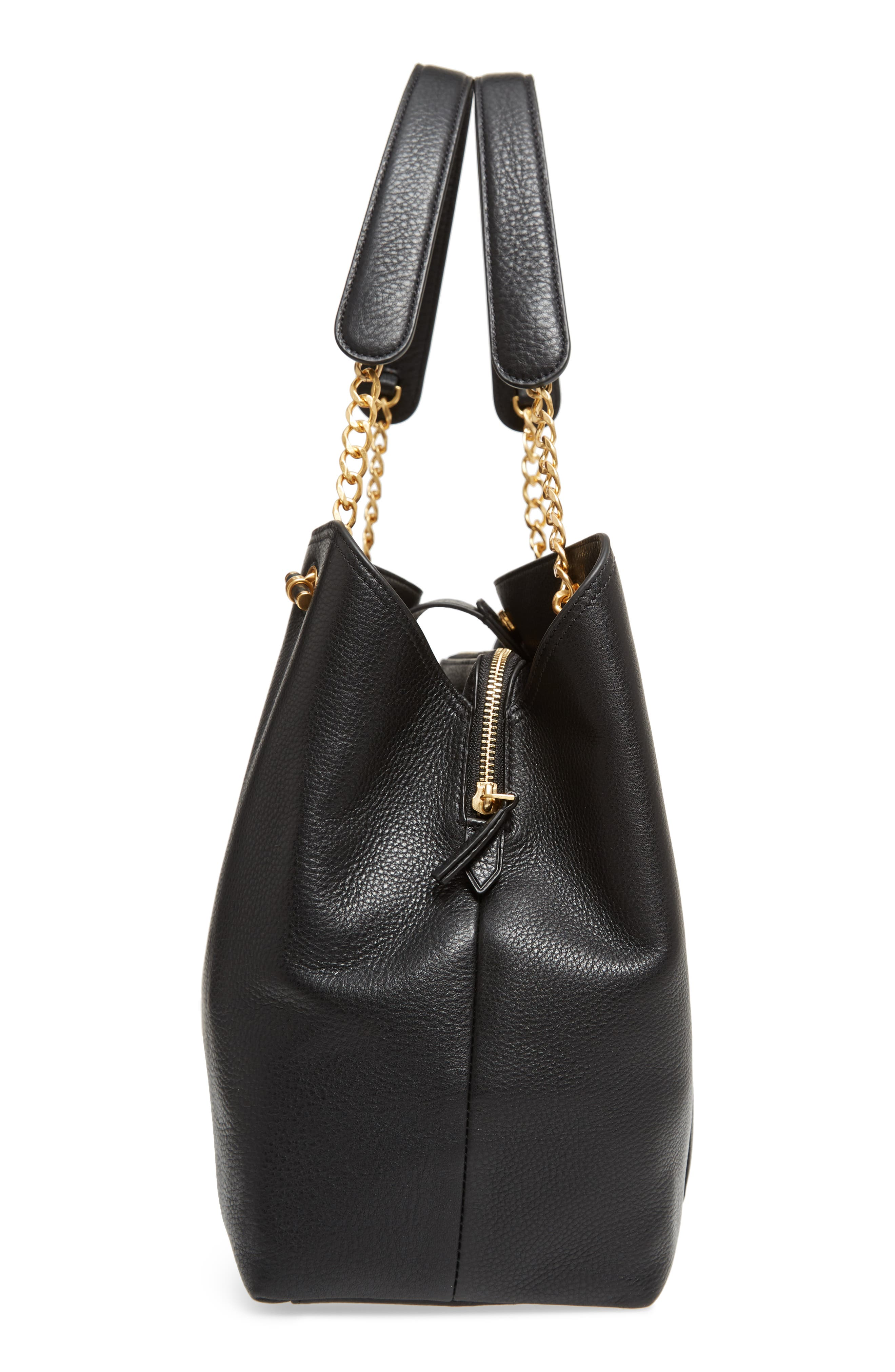 Chelsea Slouchy Leather Tote,                             Alternate thumbnail 5, color,                             Black Core
