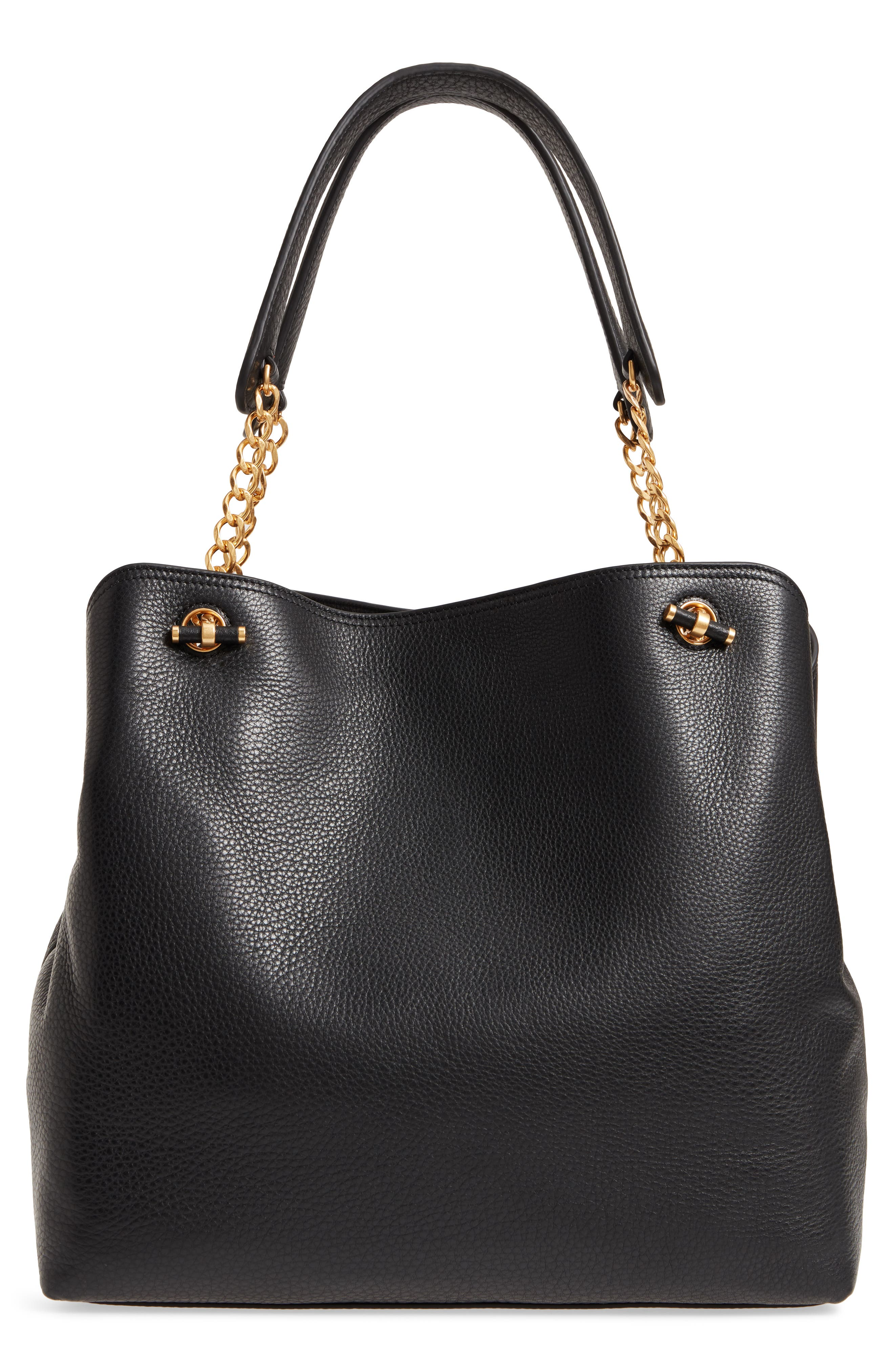 Chelsea Slouchy Leather Tote,                             Alternate thumbnail 3, color,                             Black Core