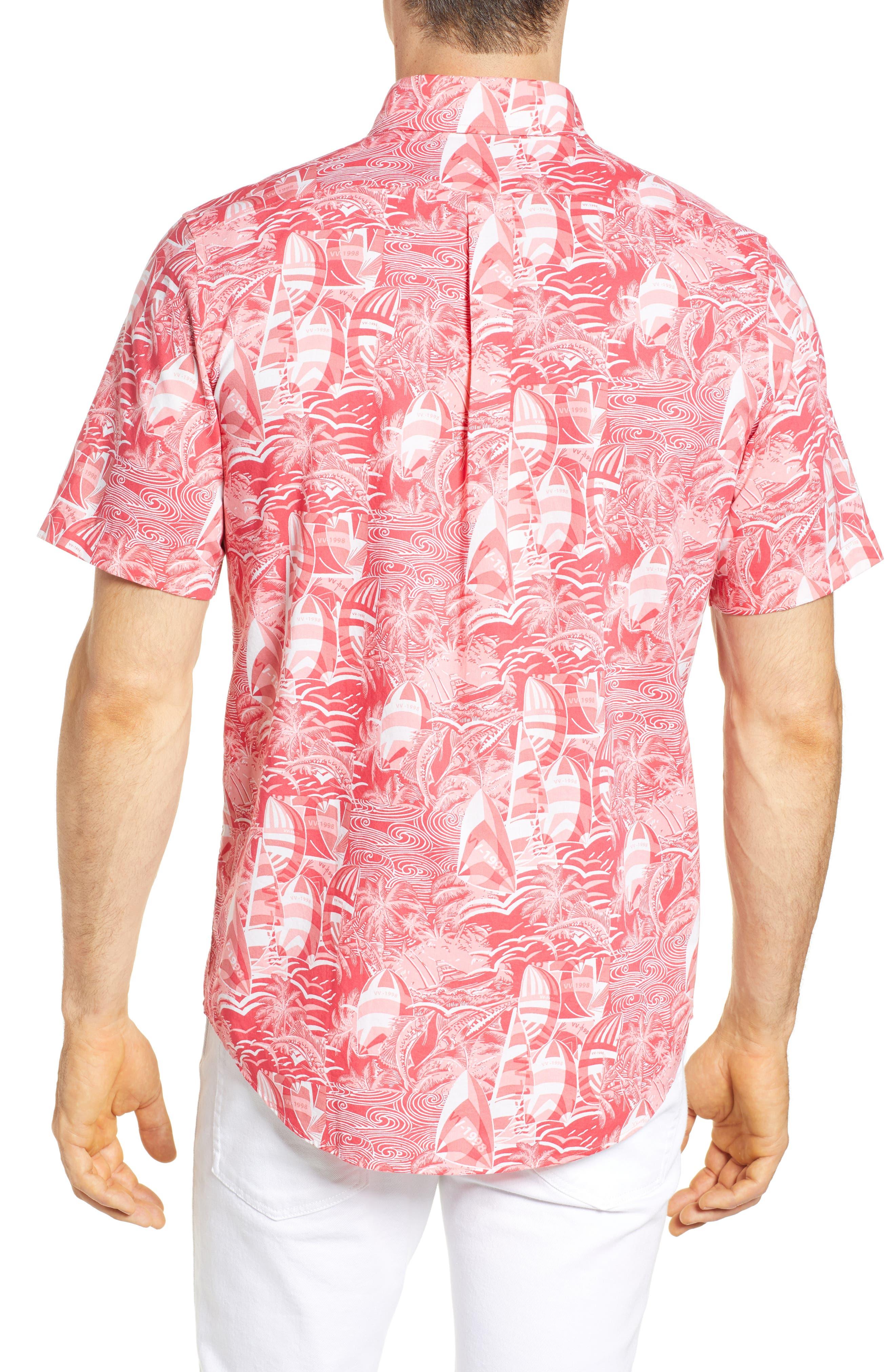 At Sea Tucker Slim Fit Sport Shirt,                             Alternate thumbnail 3, color,                             Sailors Red