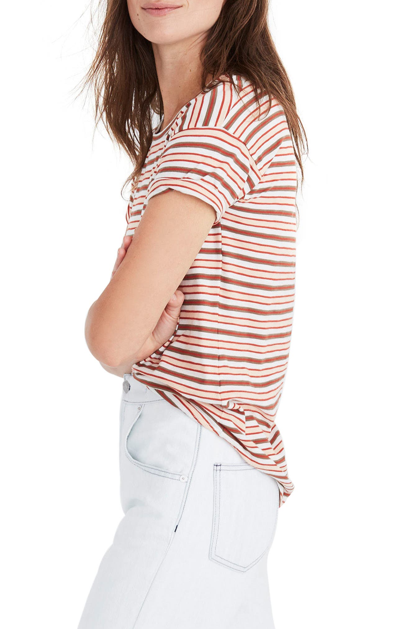Whisper Cotton Stripe Crewneck Tee,                             Alternate thumbnail 3, color,                             Muted Shell