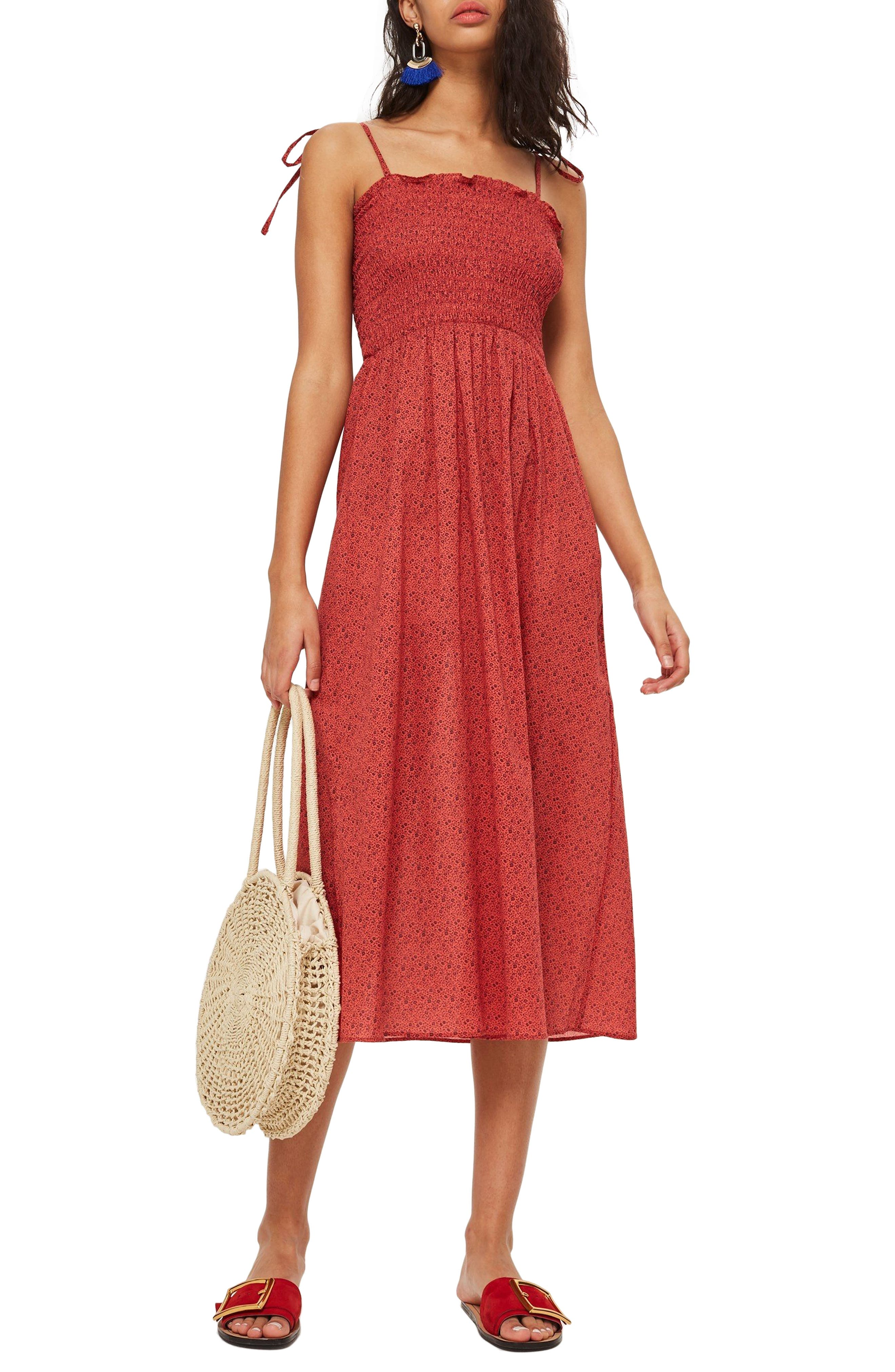 Ditsy Shirred Swim Cover-Up,                         Main,                         color, Red