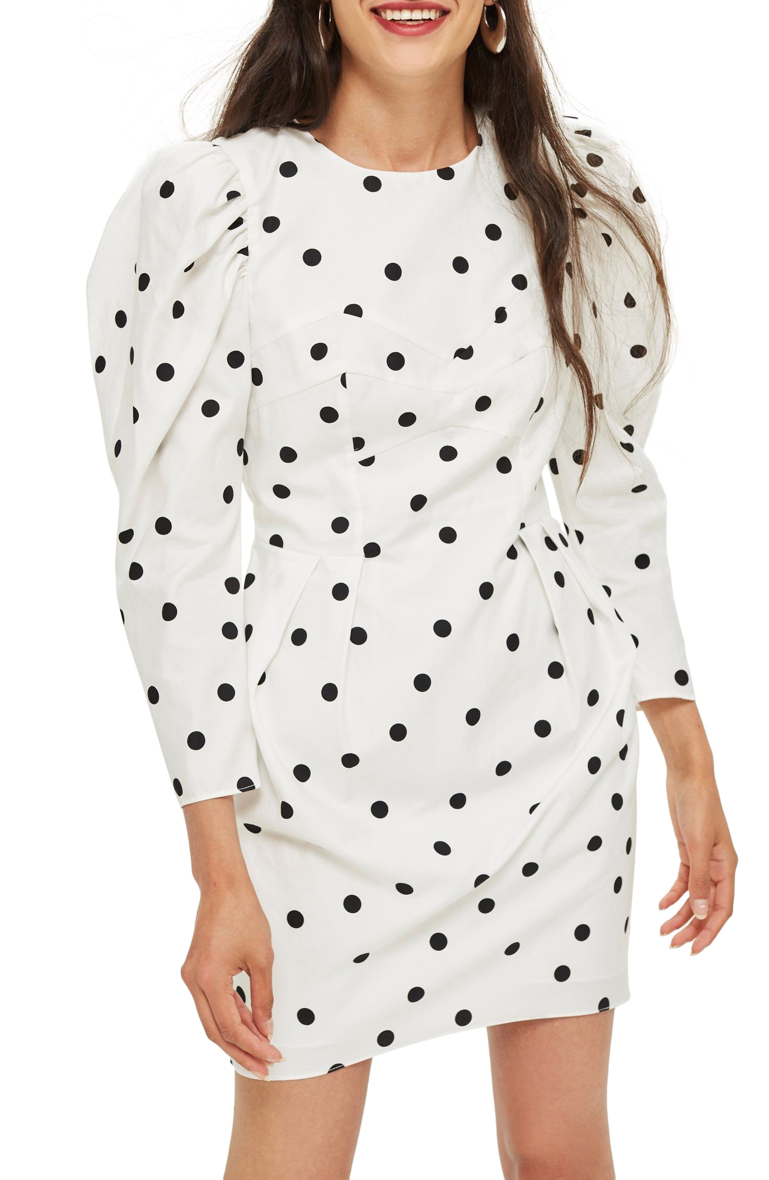 Puff Sleeve Polka Dot Minidress,                             Main thumbnail 1, color,                             Ivory Multi
