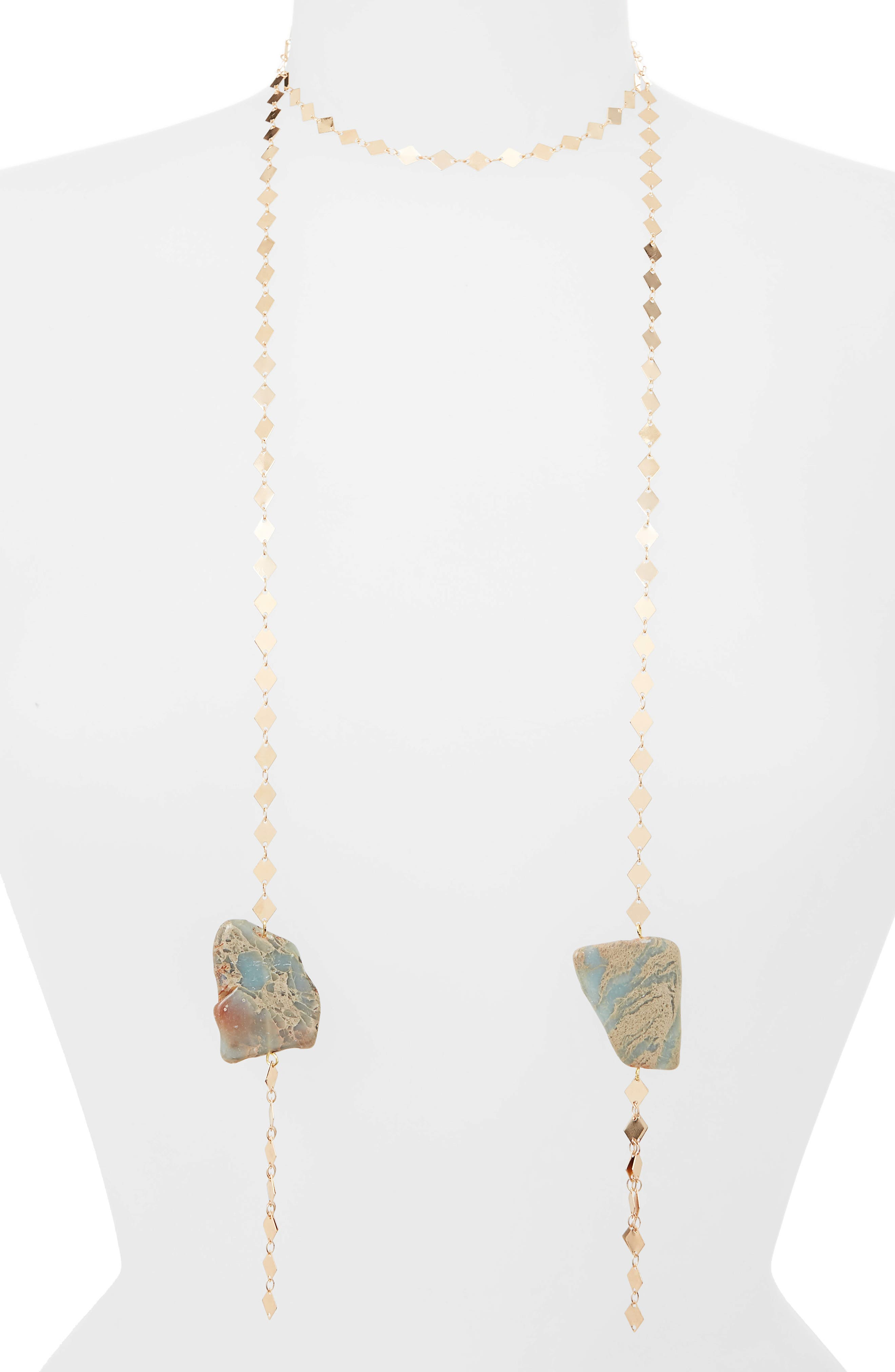 Becca Lariat Necklace,                             Main thumbnail 1, color,                             Blue/ Gold