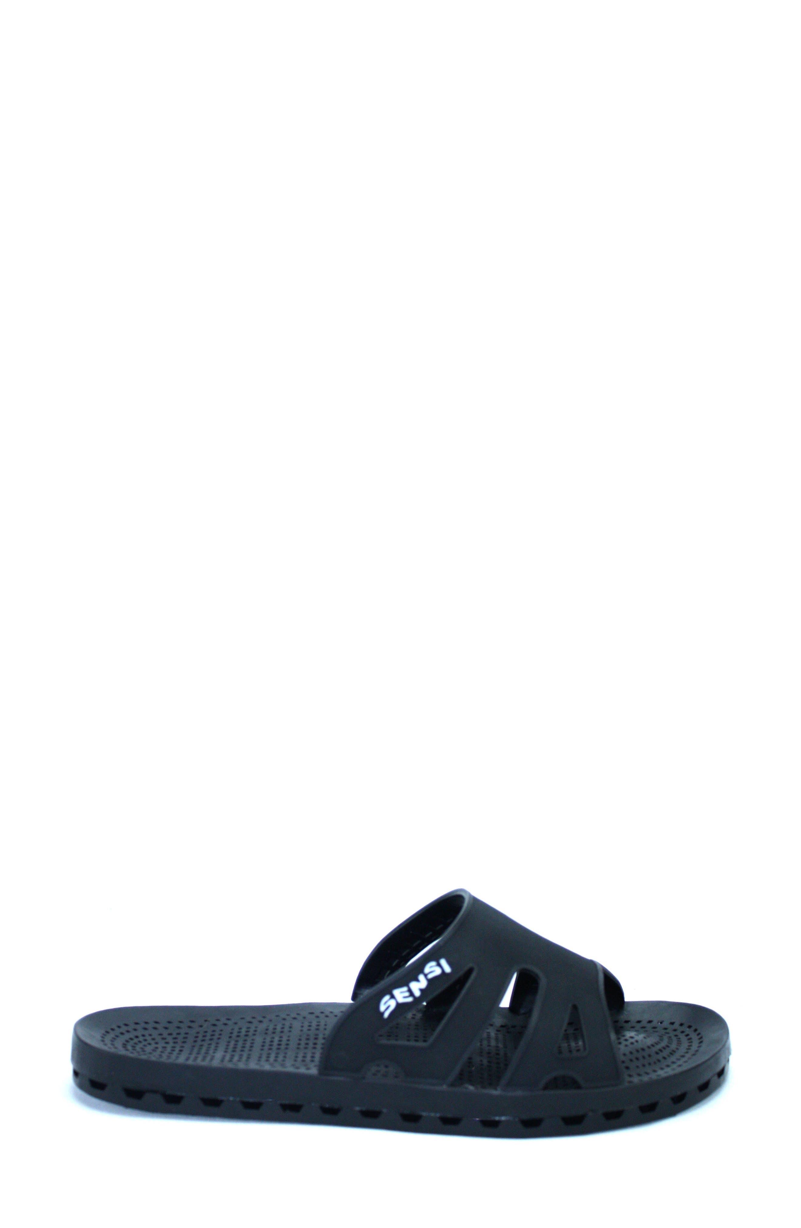 Regatta Slide Sandal,                             Alternate thumbnail 3, color,                             Solid Black Rubber