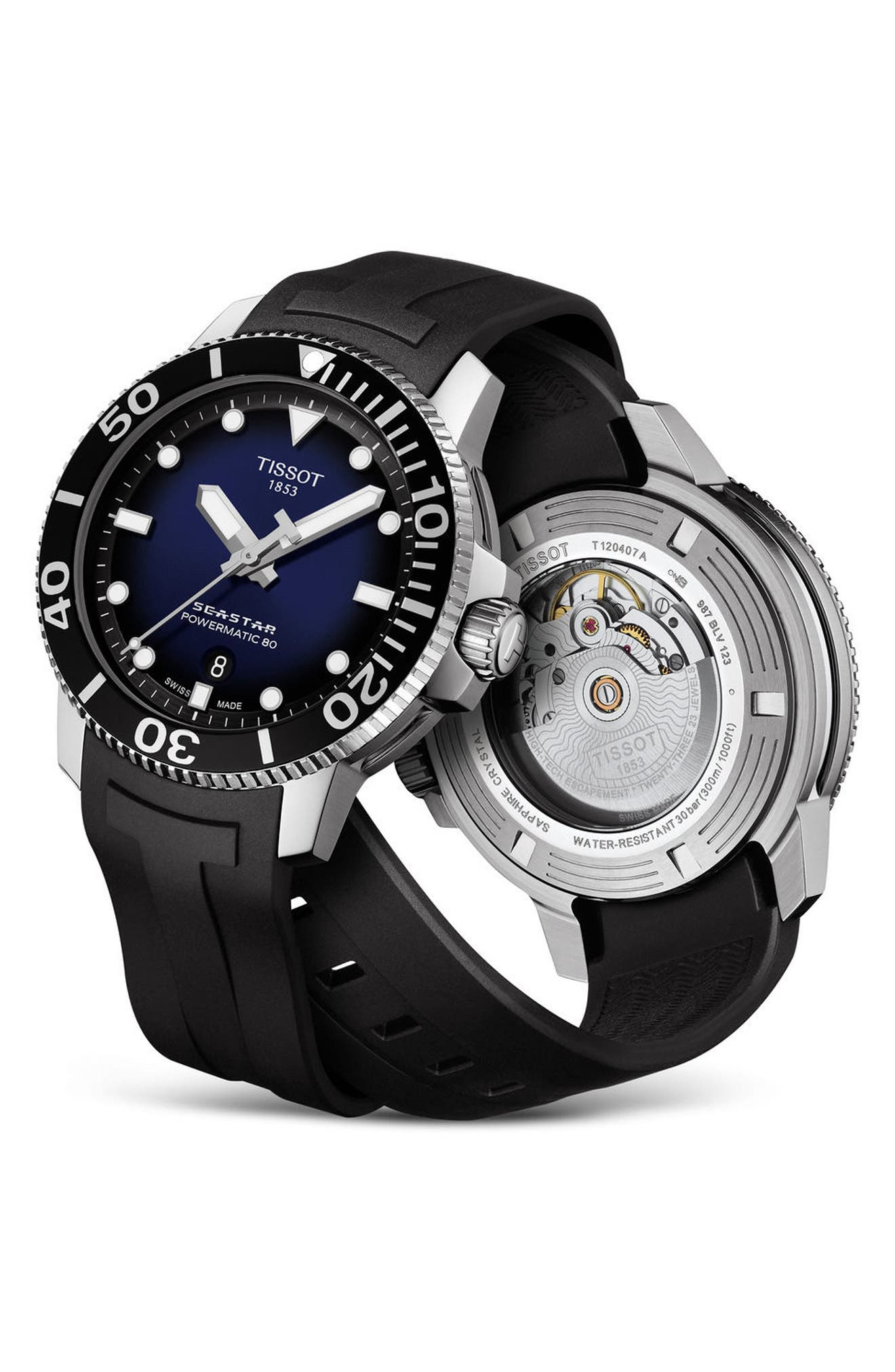 T-Sport Automatic Synthetic Strap Watch, 43mm,                             Alternate thumbnail 5, color,                             Black/ Blue/ Silver