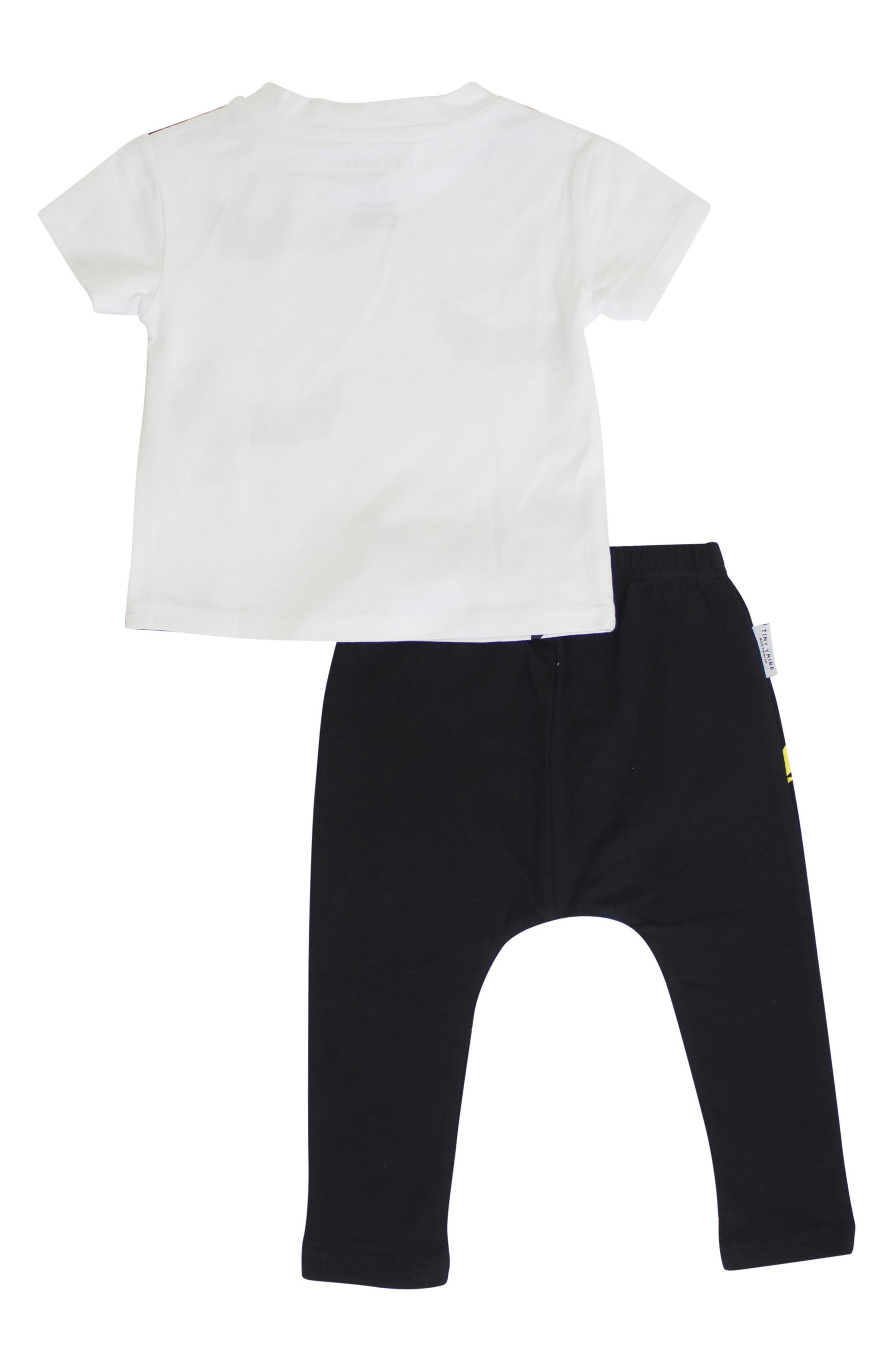 Bat Shirt & Leggings Set,                             Alternate thumbnail 2, color,                             White/ Black