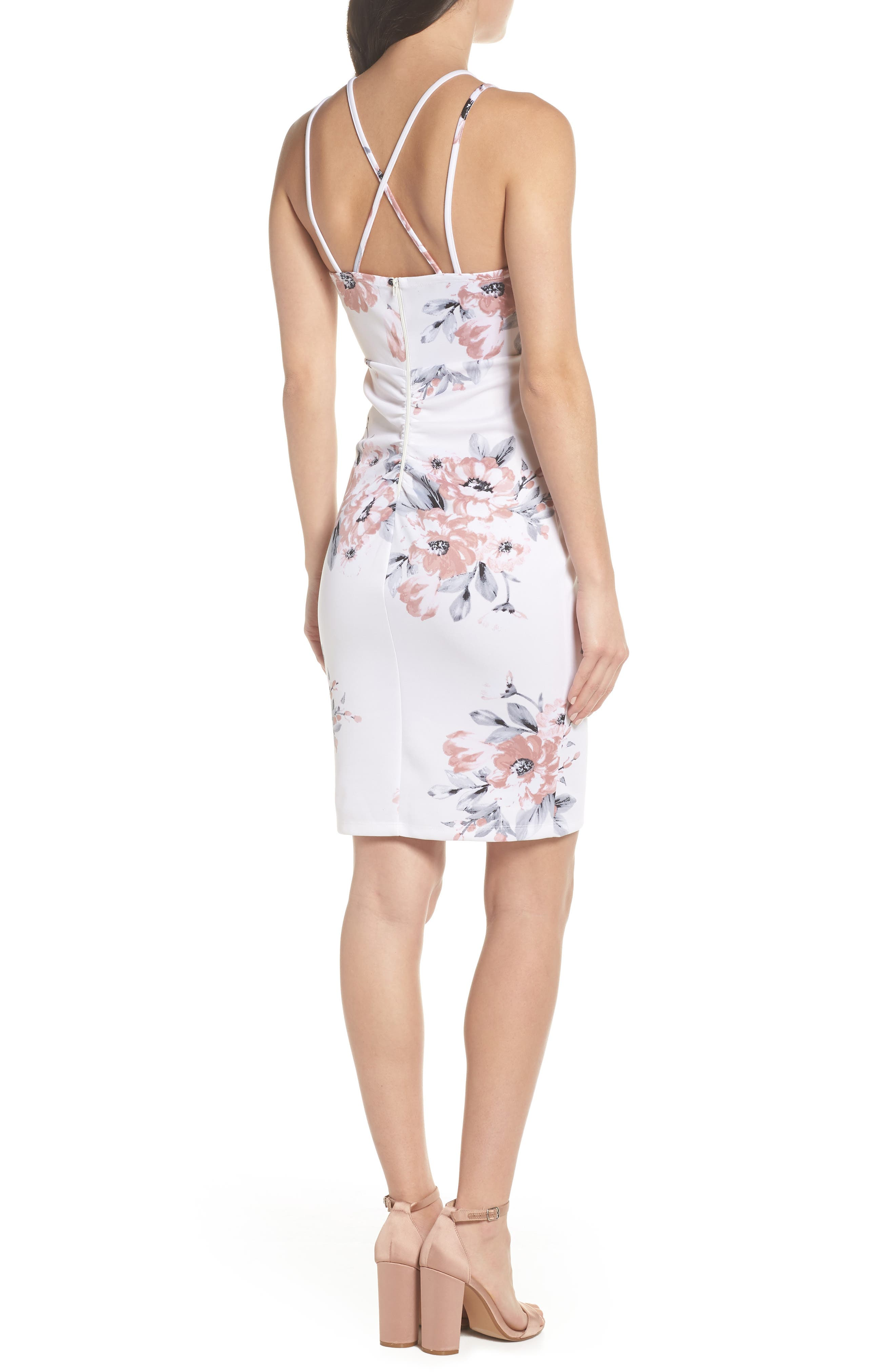 Floral Print Double Strap Scuba Dress,                             Alternate thumbnail 2, color,                             Ivory/ Mauve