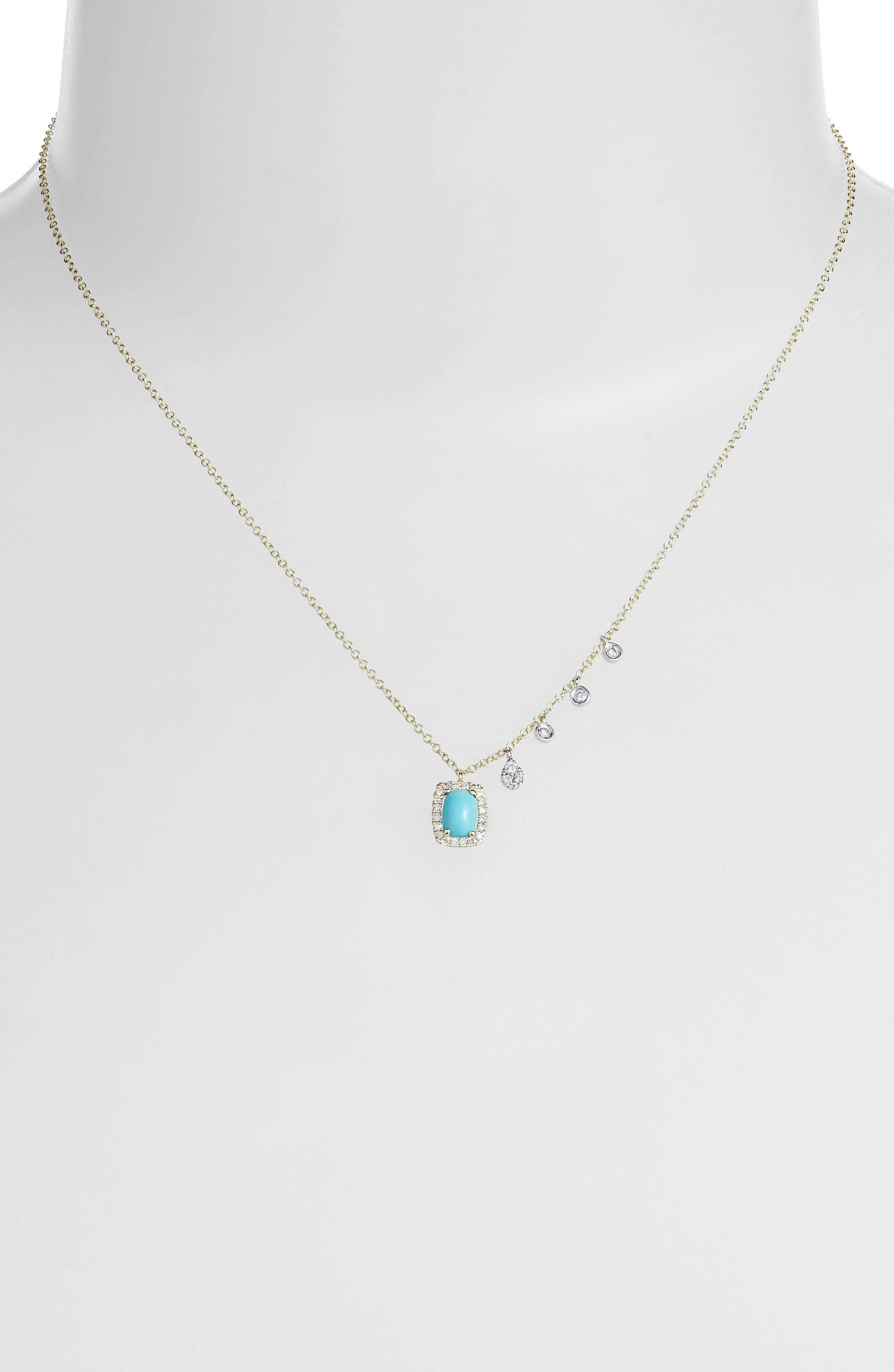 Meira T Turquoise & Diamond Charm Necklace