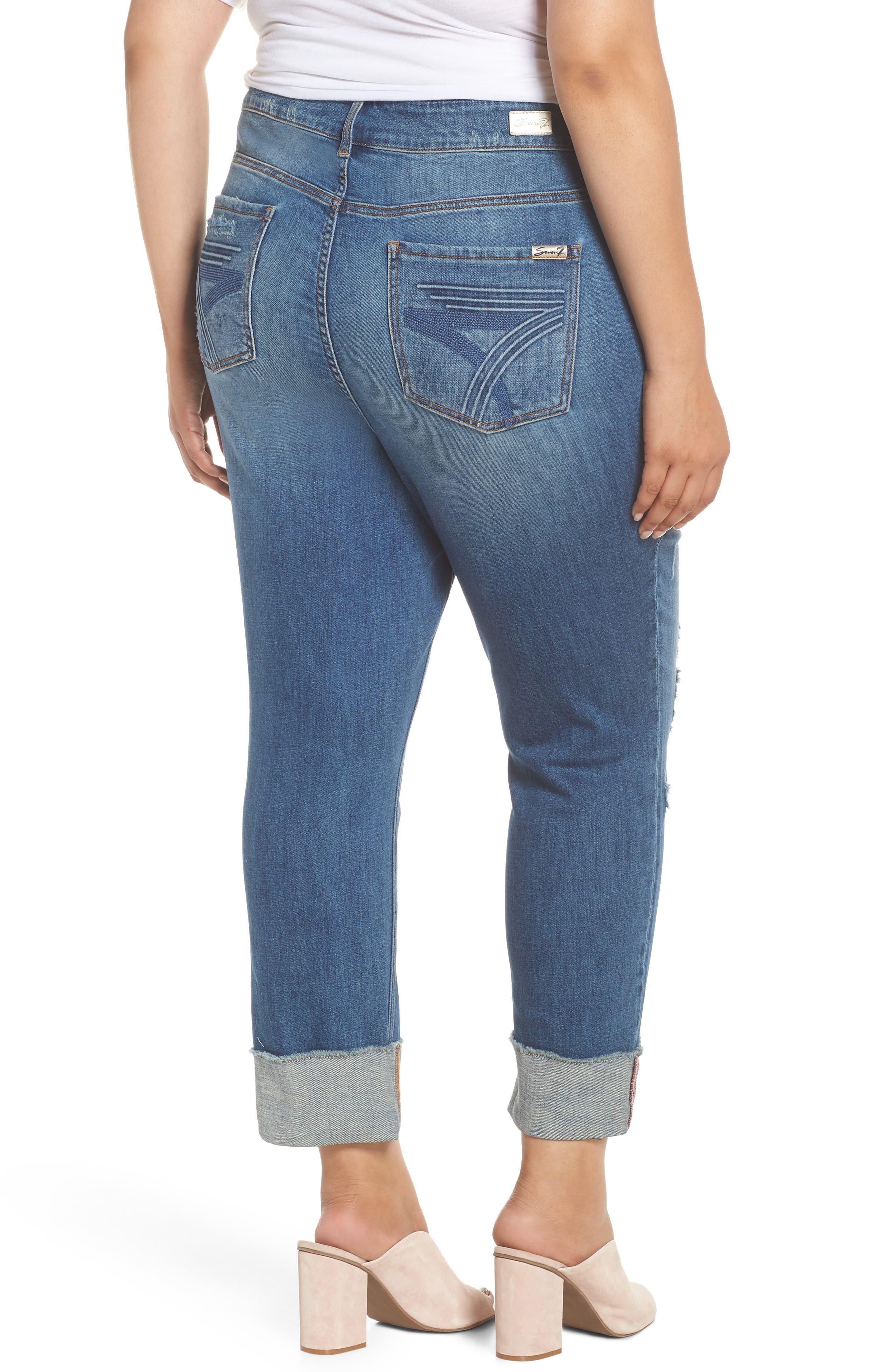 Distressed Slim Raw Hem Cuffed Jeans,                             Alternate thumbnail 2, color,                             Blue