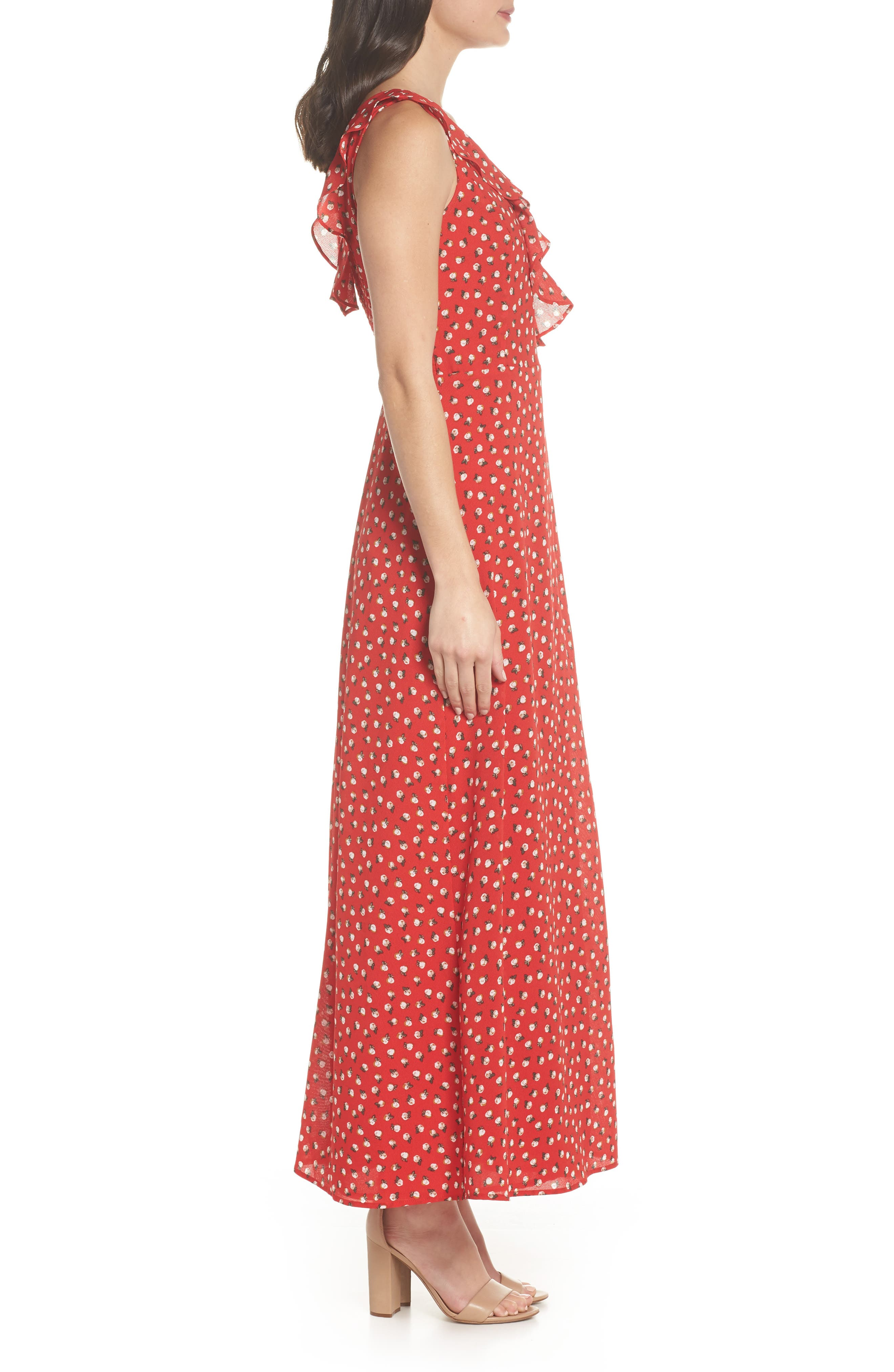 Nora Maxi Dress,                             Alternate thumbnail 3, color,                             Cherry
