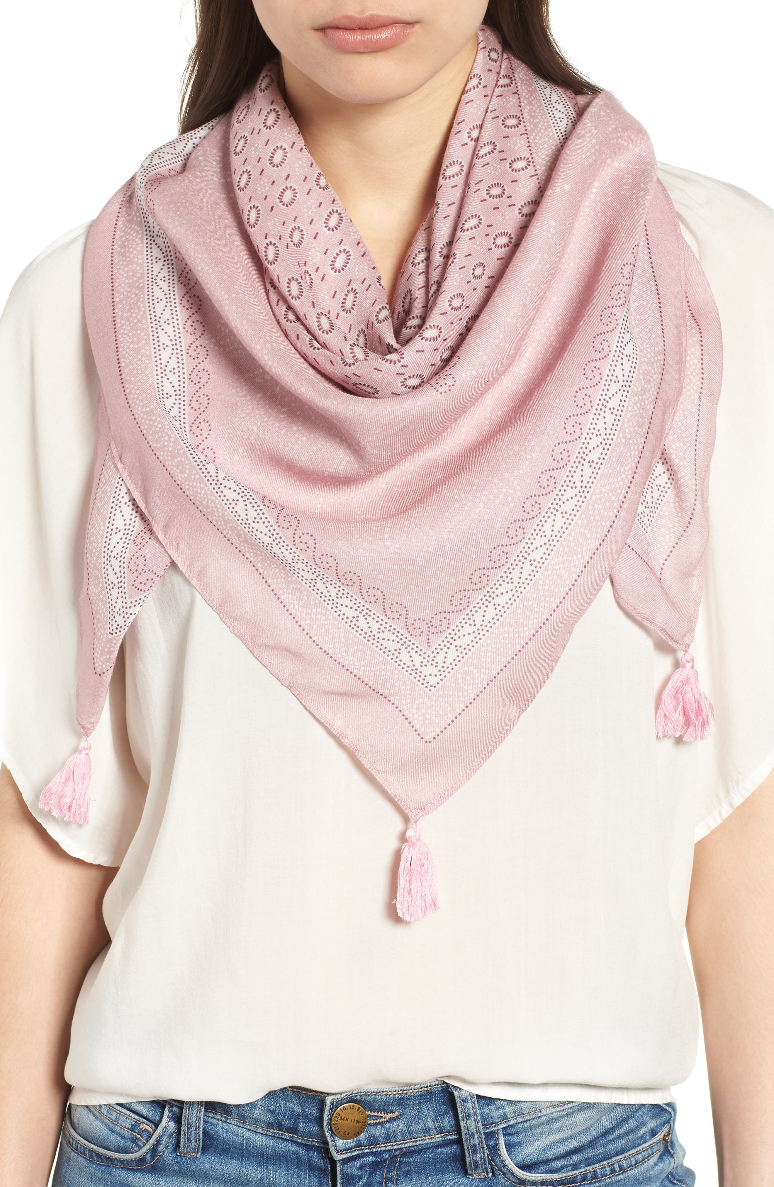 Dot Floral Large Square Scarf,                         Main,                         color, Pink