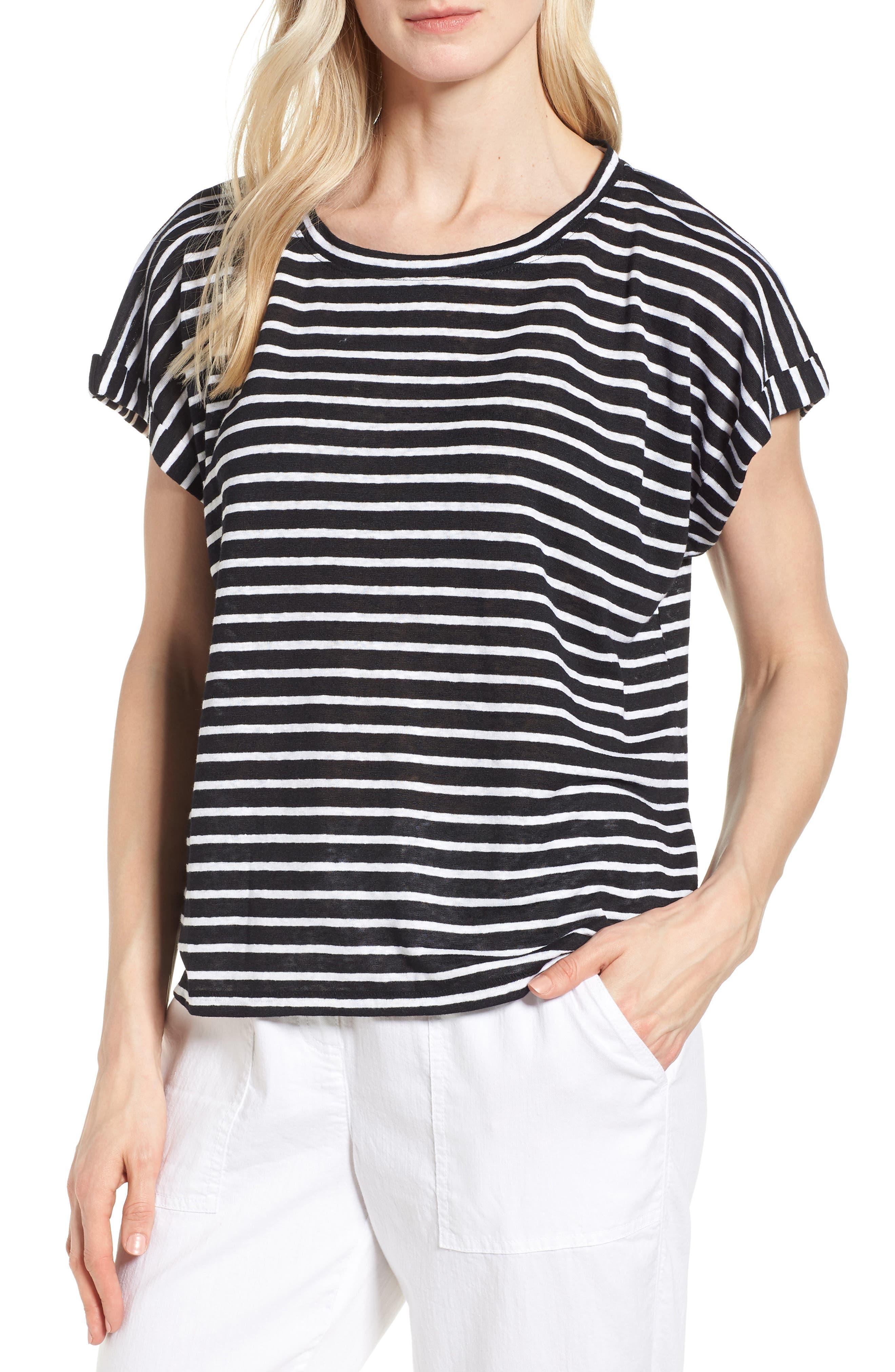 Stripe Boxy Organic Linen Top,                         Main,                         color, Black/ White