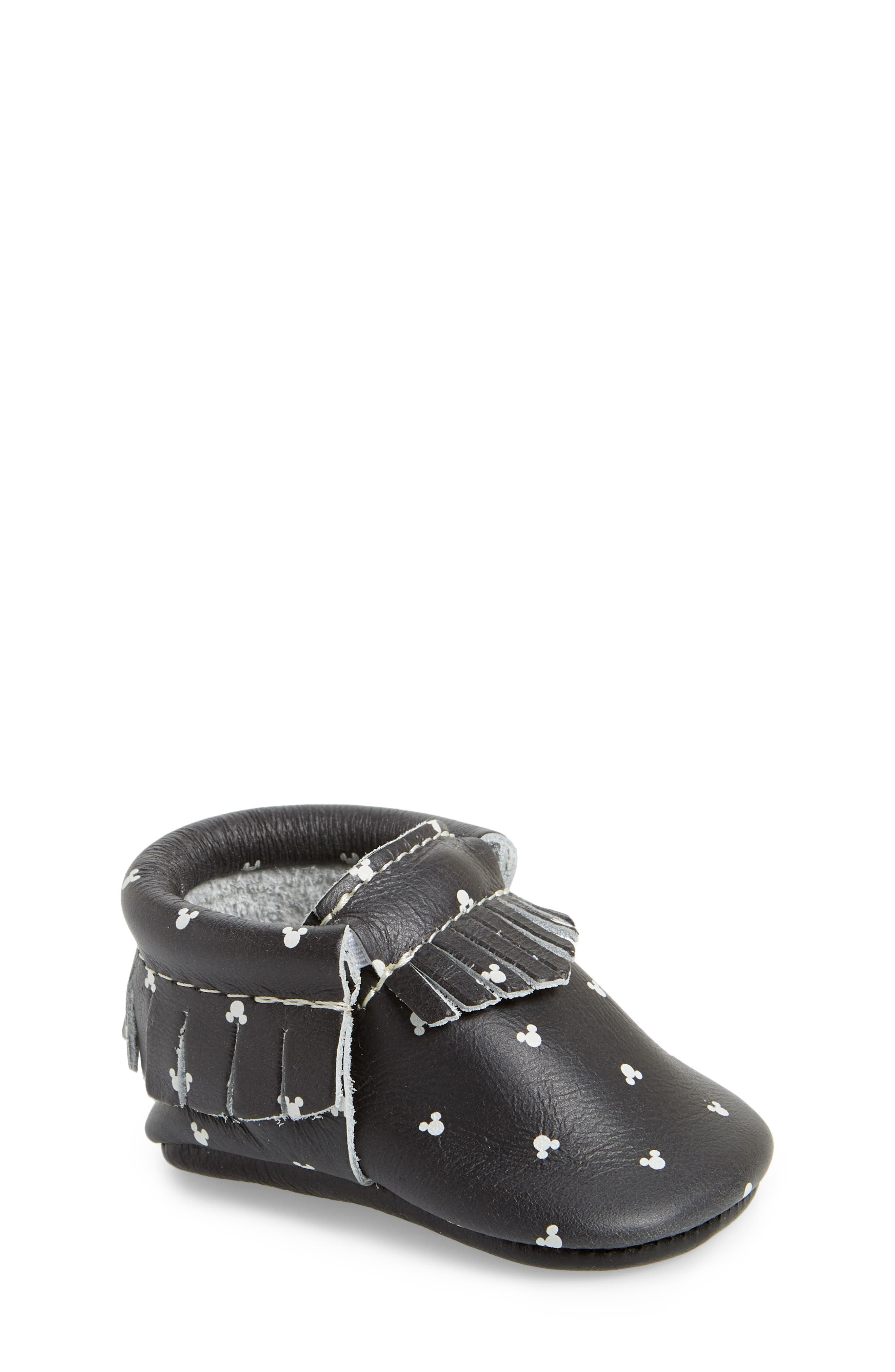 x Disney<sup>®</sup> Mouse Ears Print Moccasin,                         Main,                         color, Black Leather