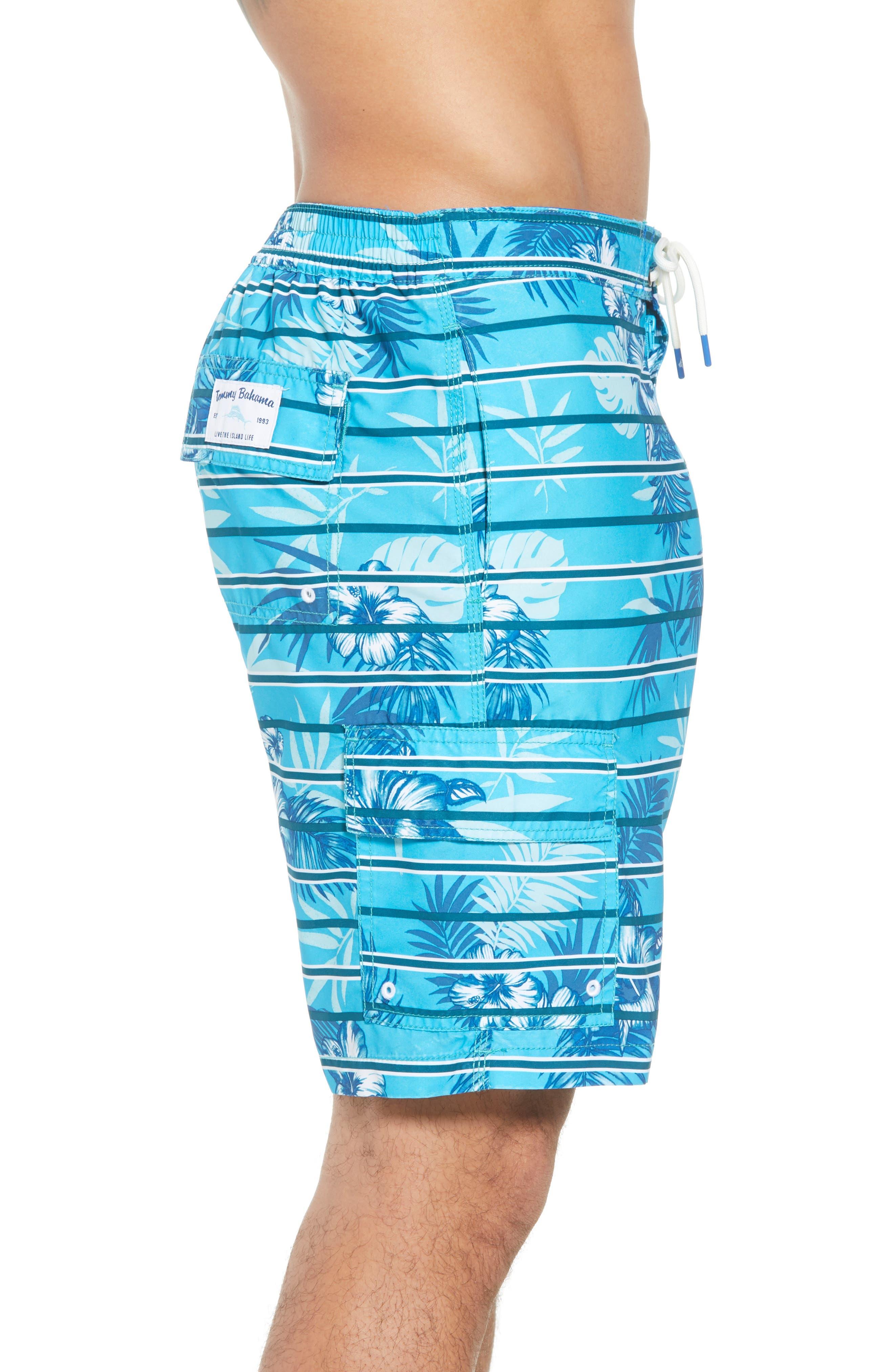 Baja Satillo Stripe Board Shorts,                             Alternate thumbnail 3, color,                             Blue Radiance
