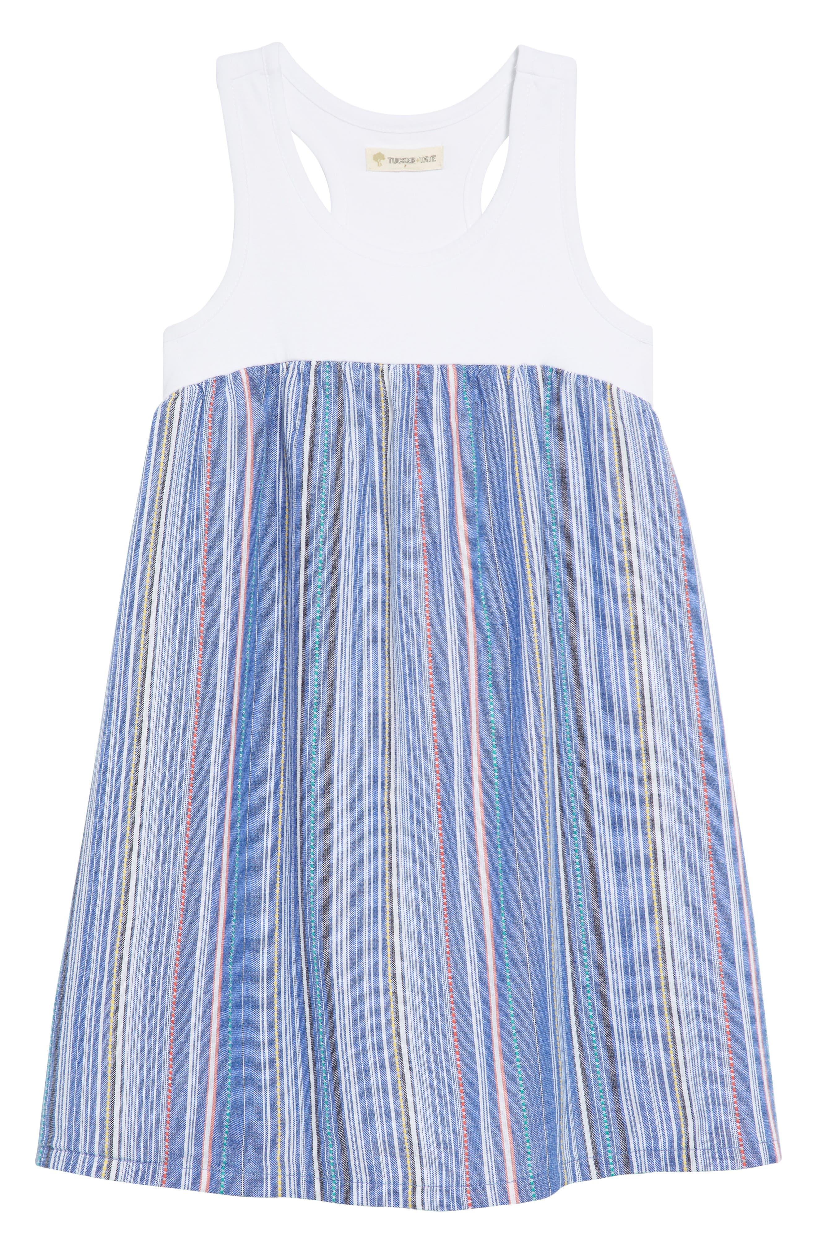 Racerback Tank Dress,                             Main thumbnail 1, color,                             Blue Thread Multi Stripe
