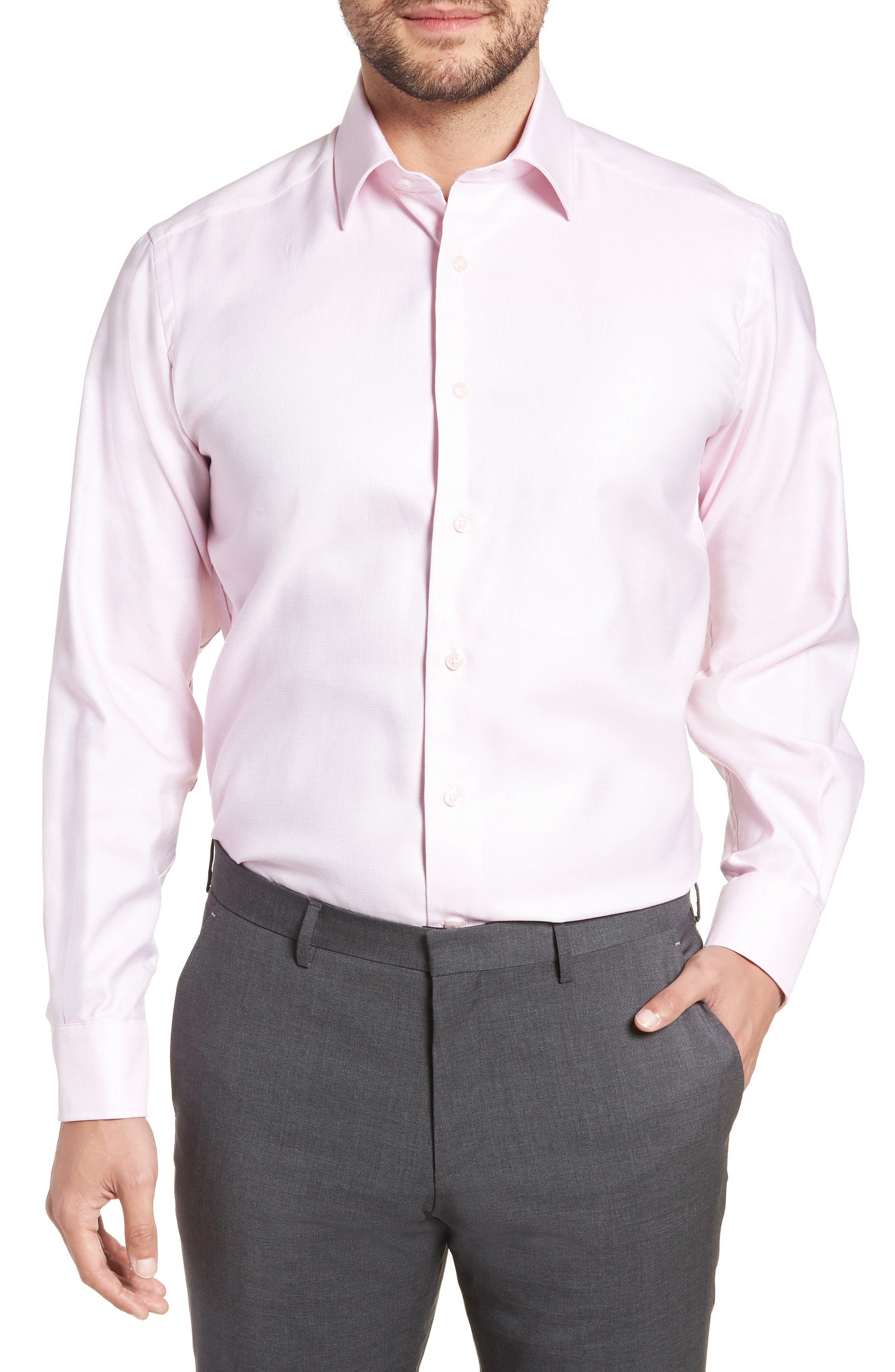 Regular Fit Solid Dress Shirt,                         Main,                         color, Pink