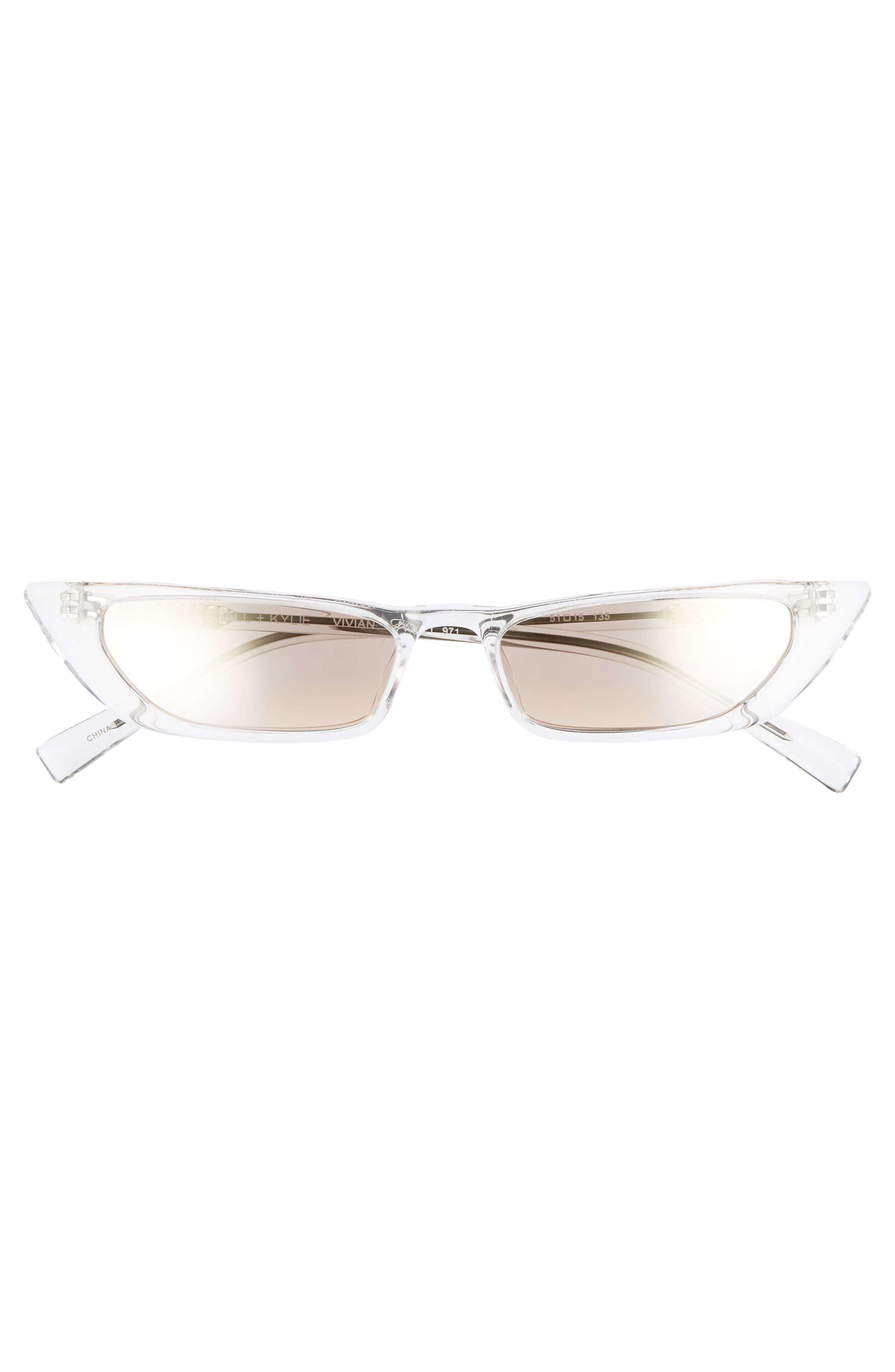 Vivian Extreme 51mm Cat Eye Sunglasses,                             Alternate thumbnail 3, color,                             Crystal/ Golden Hour Gradient