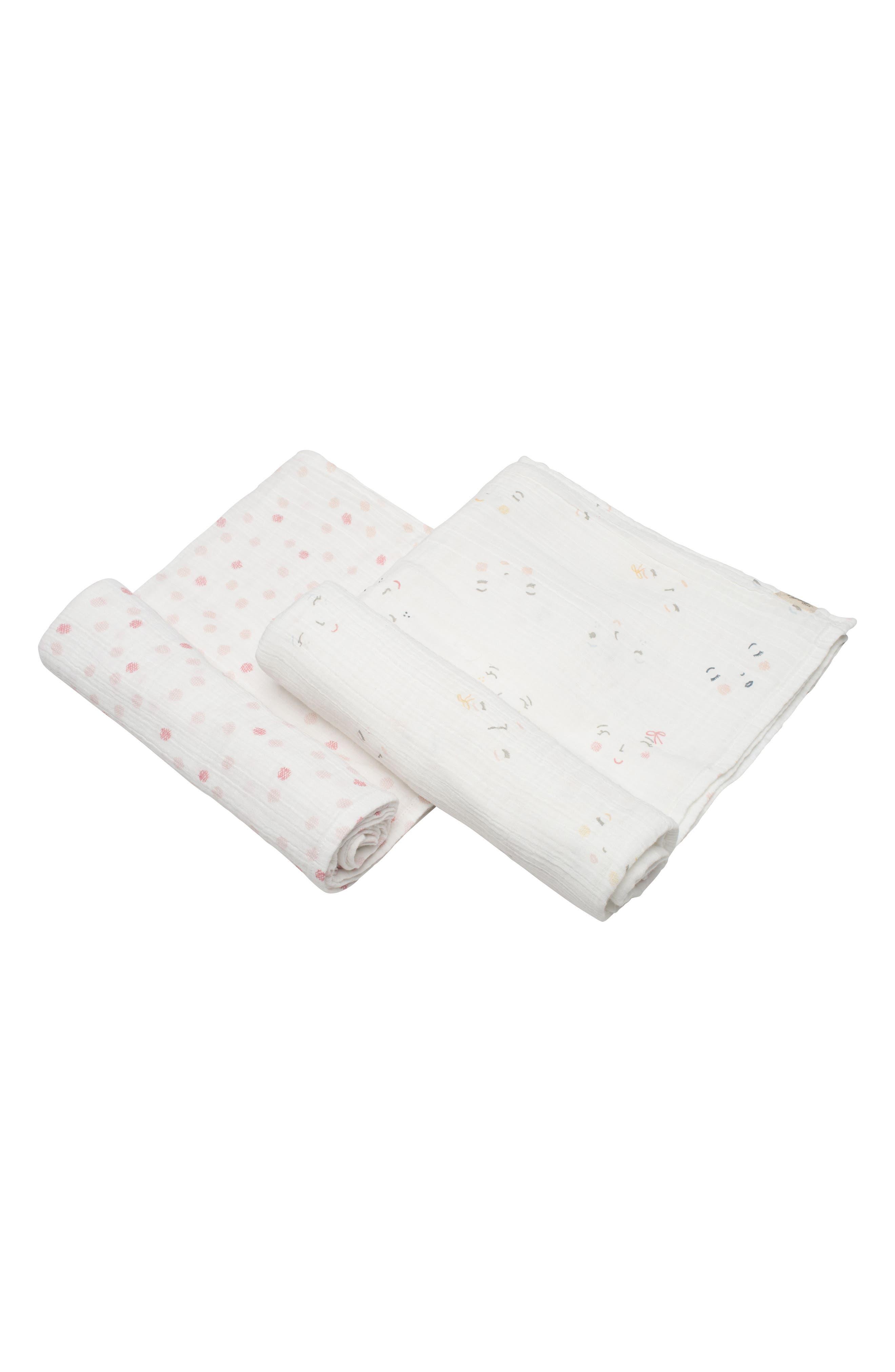 Peekaboo 2-Pack Swaddle Blankets,                             Main thumbnail 1, color,                             Ivory