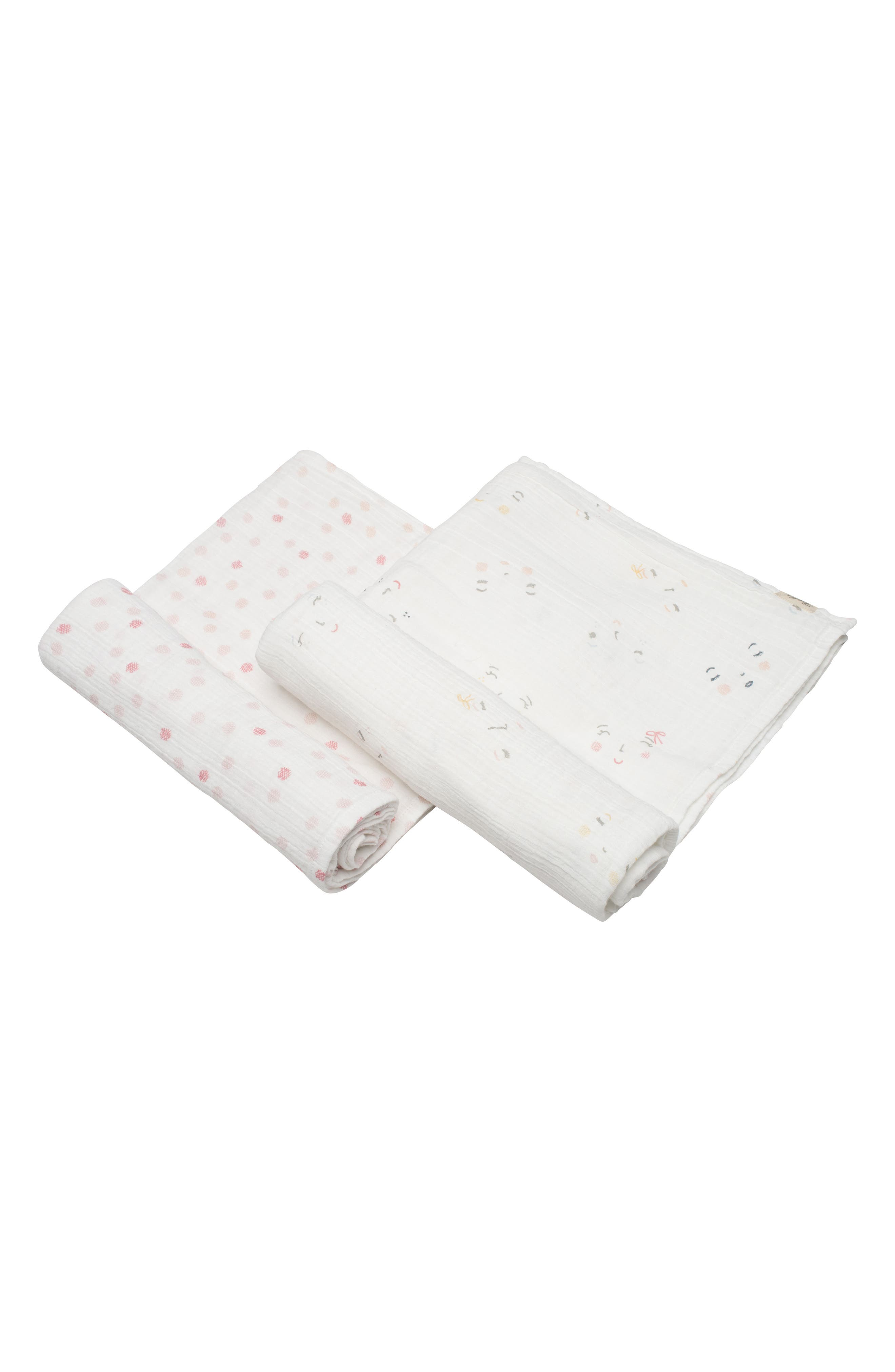 Peekaboo 2-Pack Swaddle Blankets,                         Main,                         color, Ivory