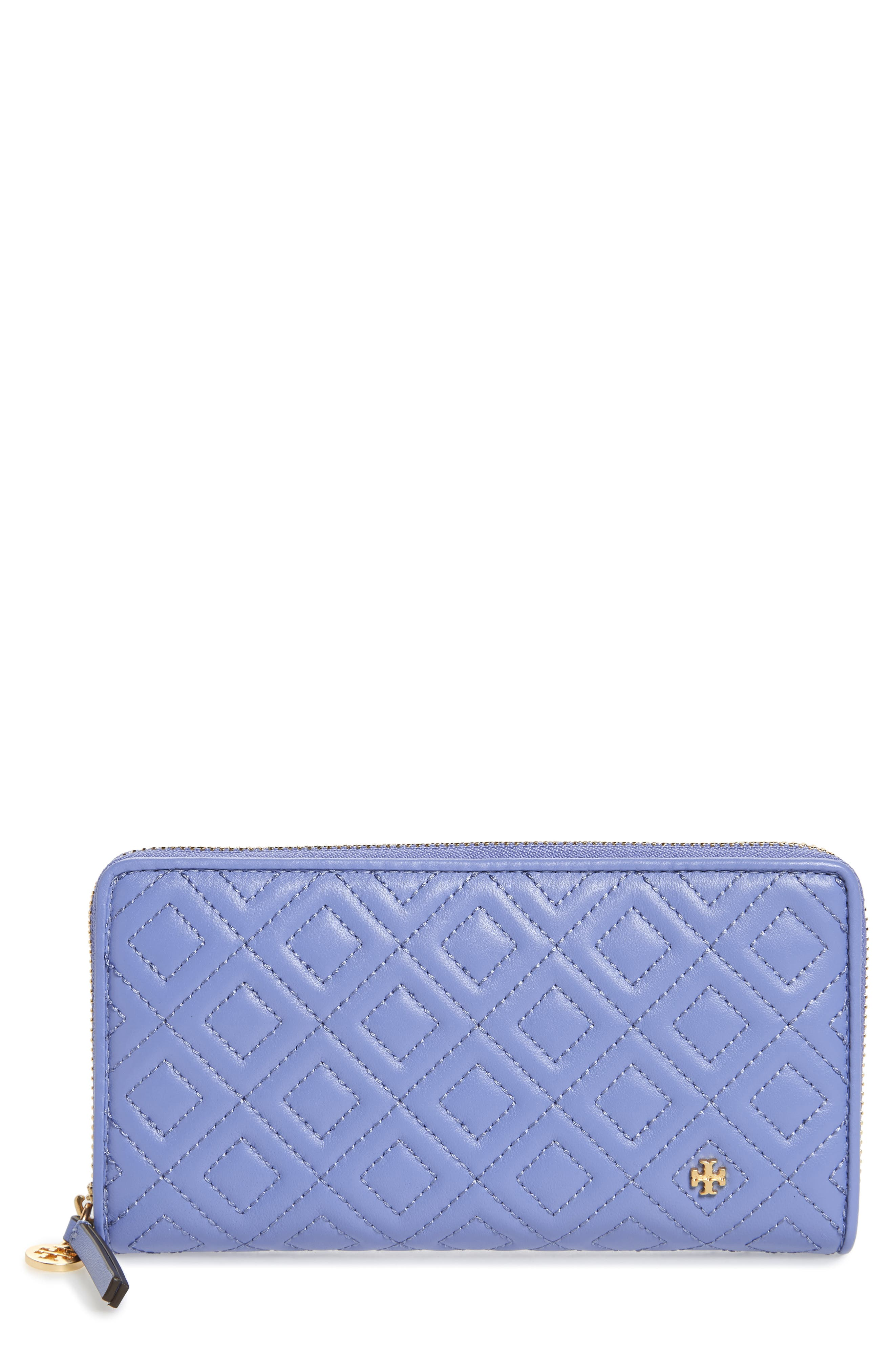 Fleming Leather Zip Around Wallet,                             Main thumbnail 1, color,                             Larkspur