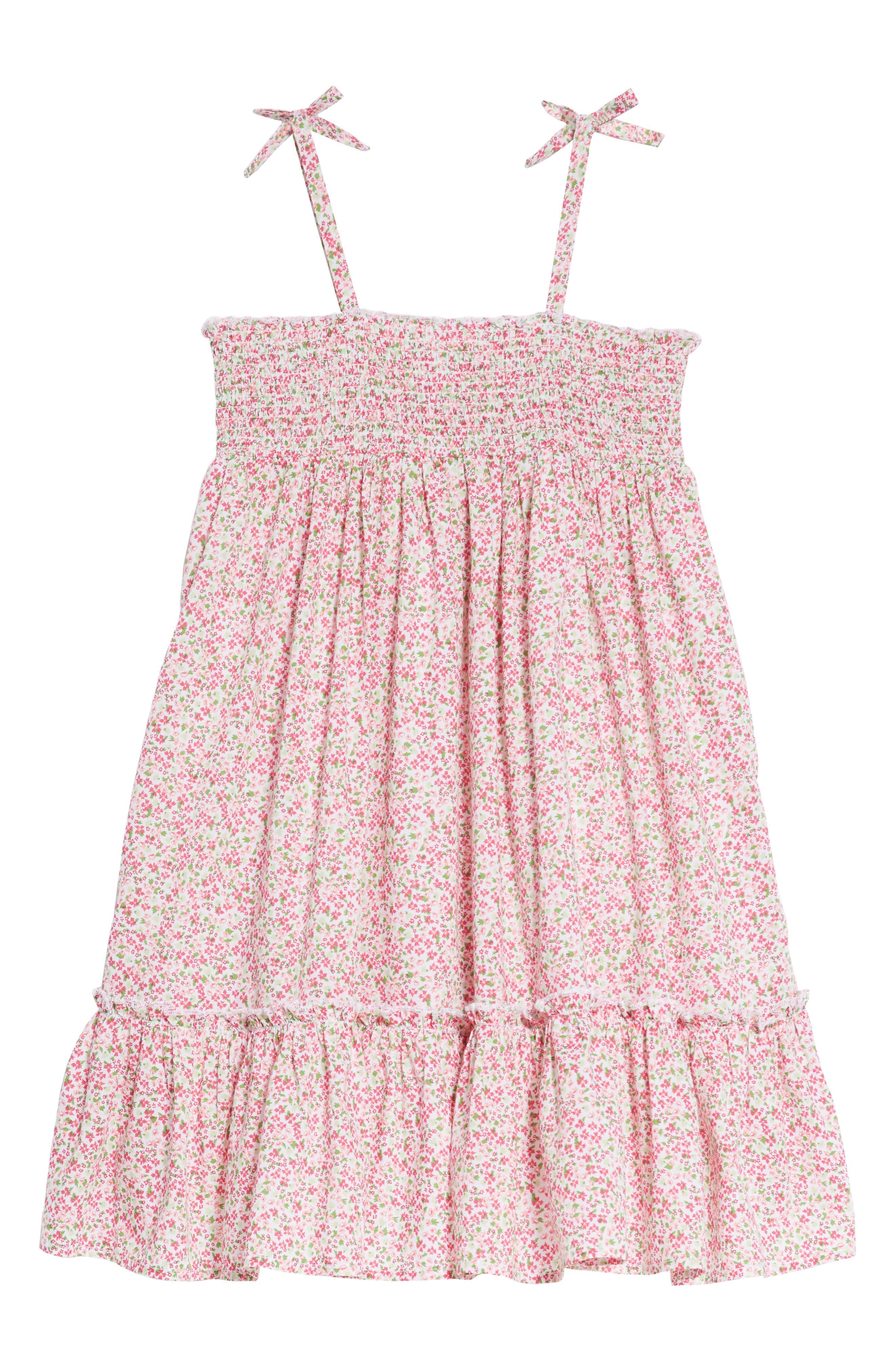 Smocked Ditzy Dress,                             Alternate thumbnail 2, color,                             White- Pink Dense Floral