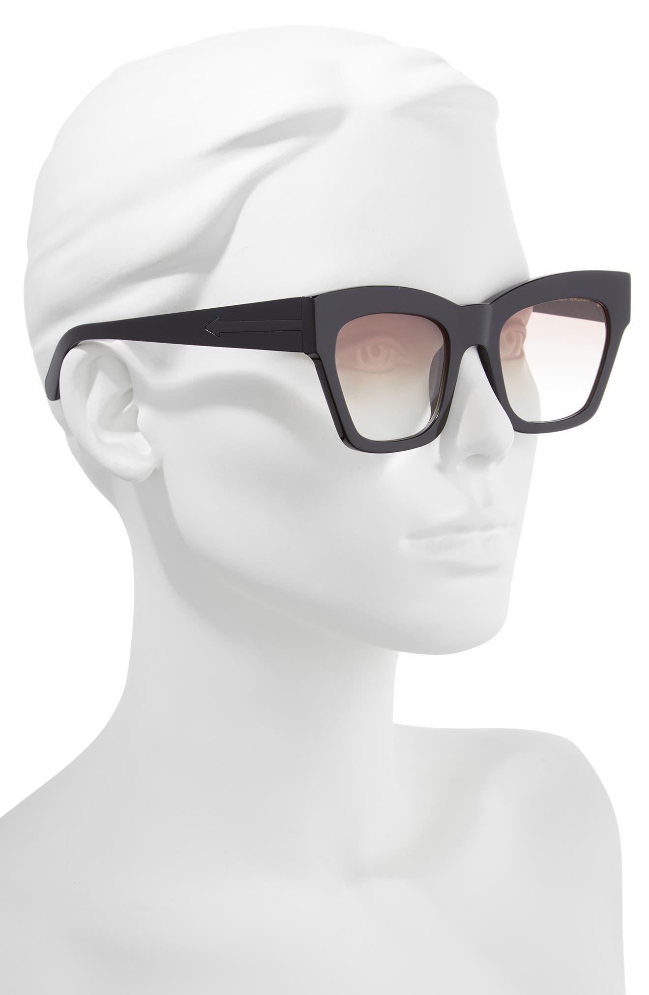 Treasure 52mm Cat Eye Sunglasses,                             Alternate thumbnail 2, color,                             Shiny Black/ Brown