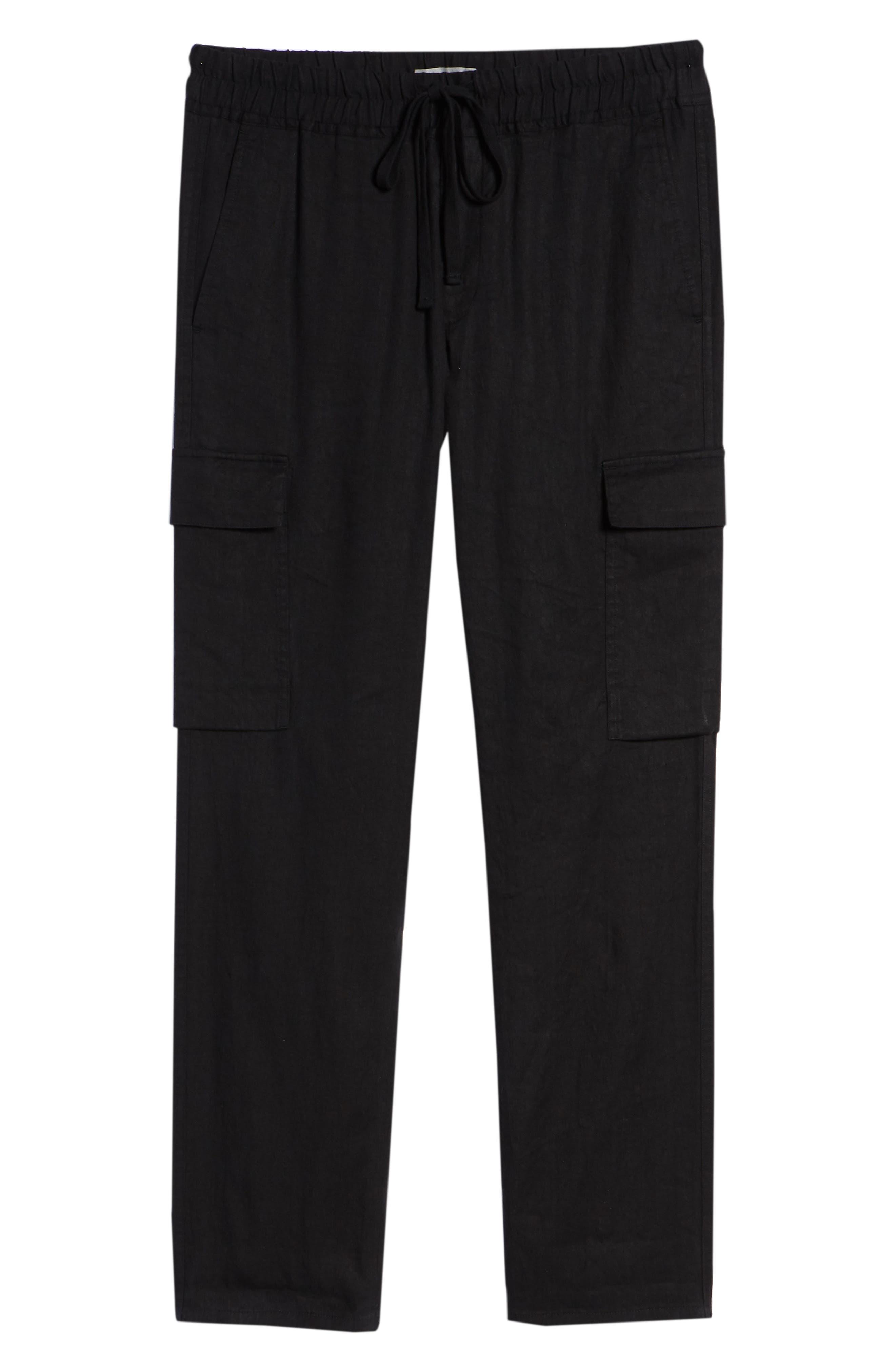 Stretch Linen & Cotton Cargo Pants,                             Alternate thumbnail 6, color,                             Black