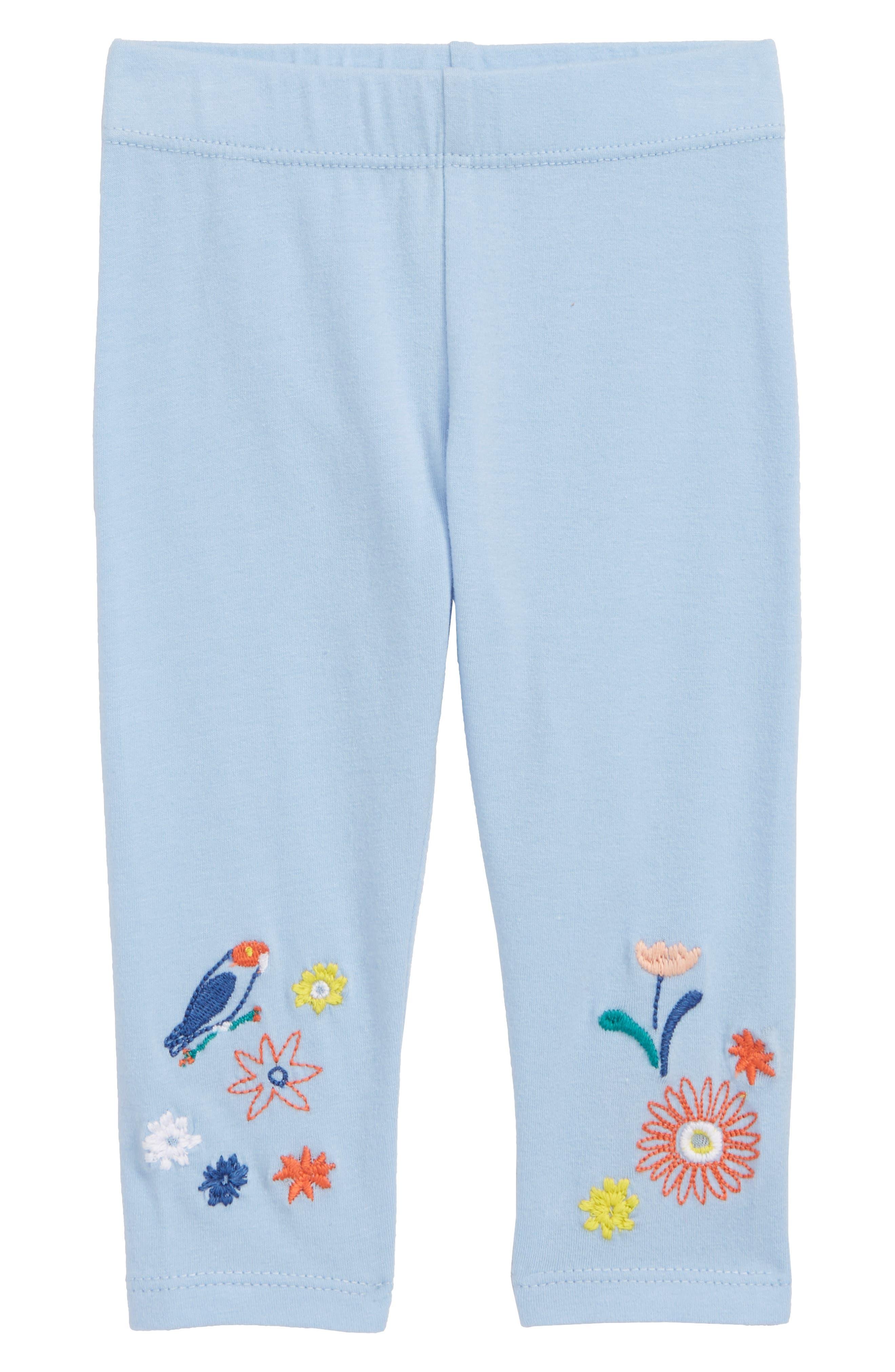 Embroidered Leggings,                             Main thumbnail 1, color,                             Blue Thread