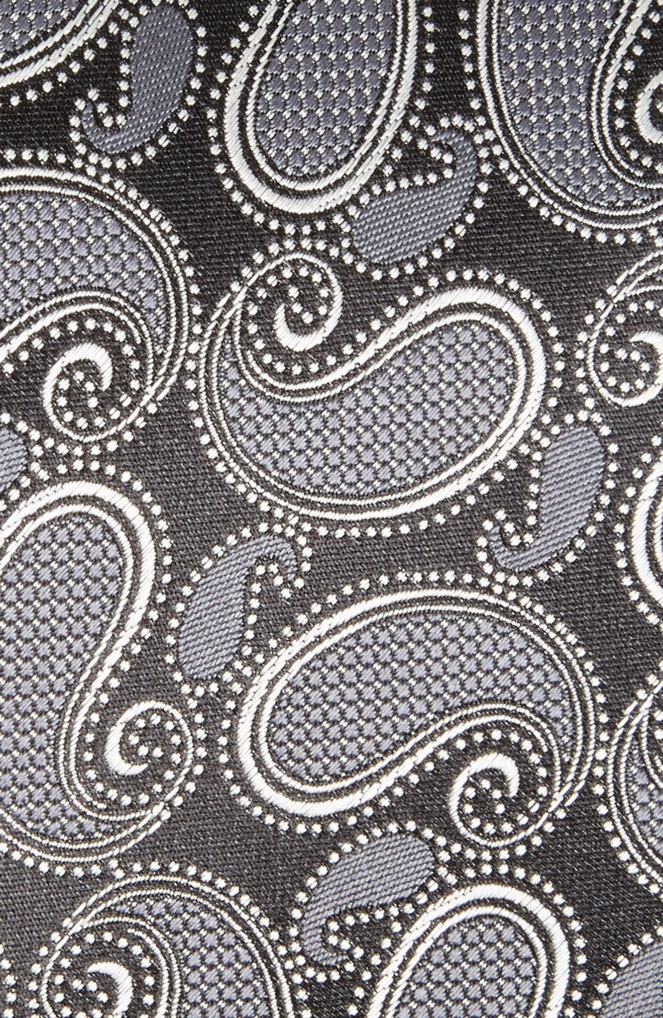 Paisley Silk Tie,                             Alternate thumbnail 2, color,                             Black
